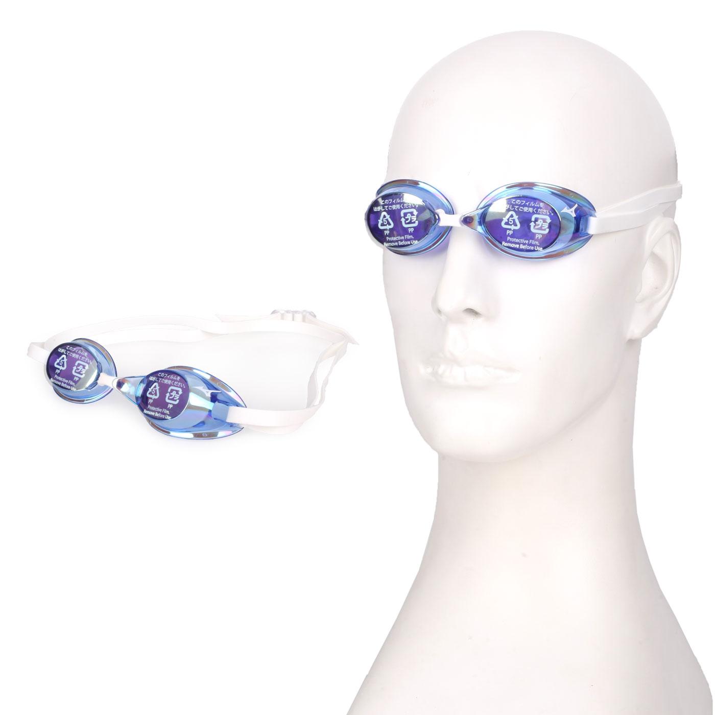 MIZUNO 日製競速型無墊片鍍膜泳鏡  SWIM85YA-75100-21 - 白藍