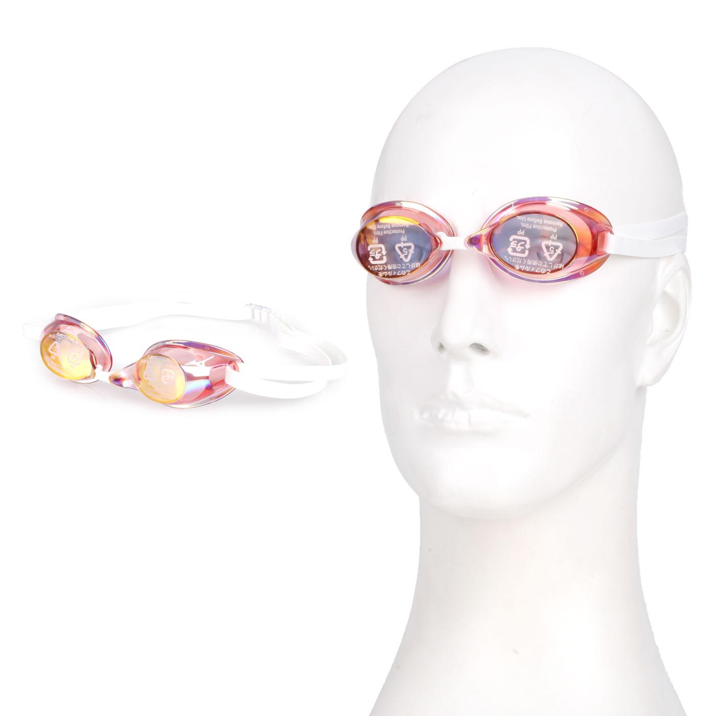 MIZUNO 日製競速型無墊片鍍膜泳鏡  SWIM85YA-75100-21 - 粉紅橘白