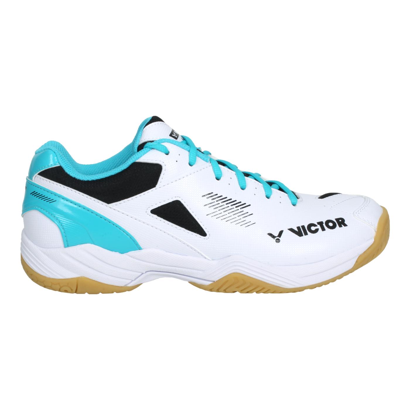 VICTOR 男女羽球鞋 A171-AM - 白黑湖水綠