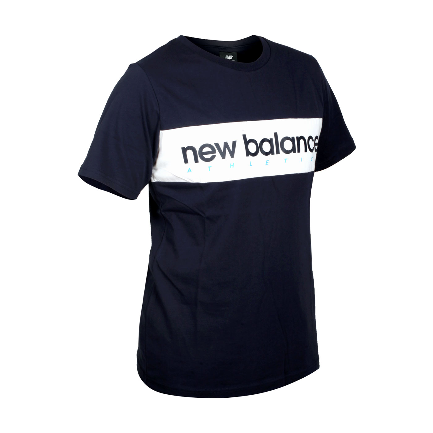 NEW BALANCE 男款橫條品牌短袖T恤 AMT11548ECL - 丈青白藍