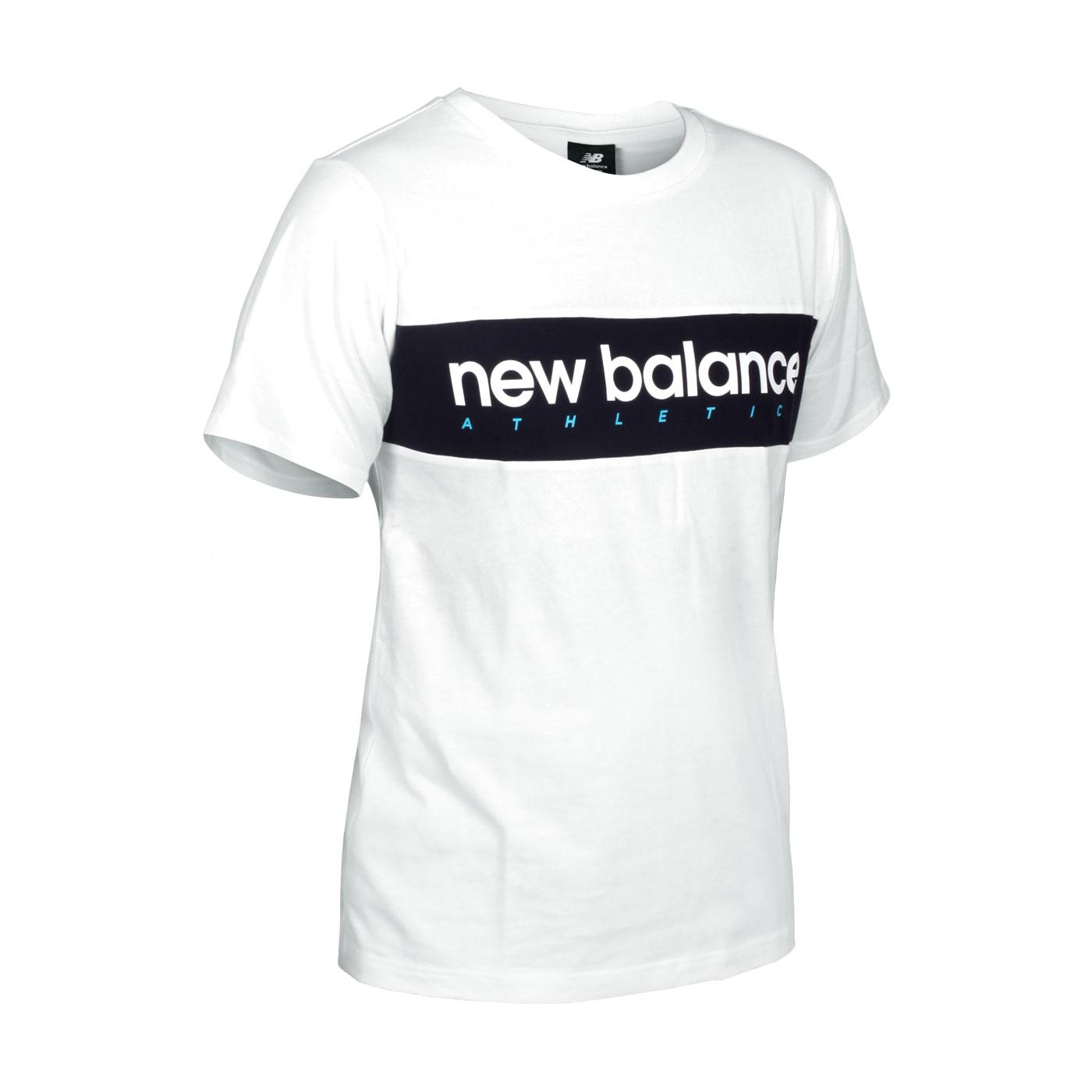 NEW BALANCE 男款橫條品牌短袖T恤 AMT11548WT - 白丈青