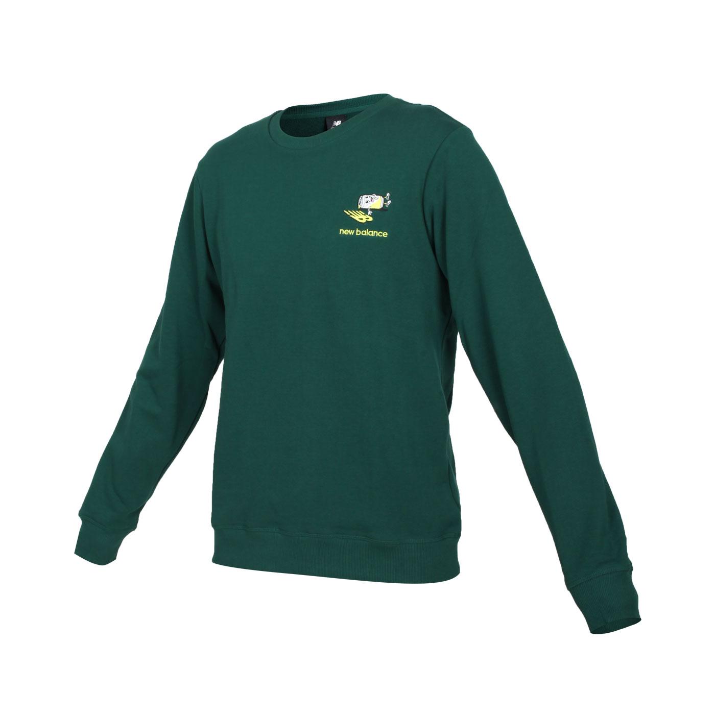 NEW BALANCE 男款圓領長袖T恤 AMT13572NWG - 深綠螢光綠