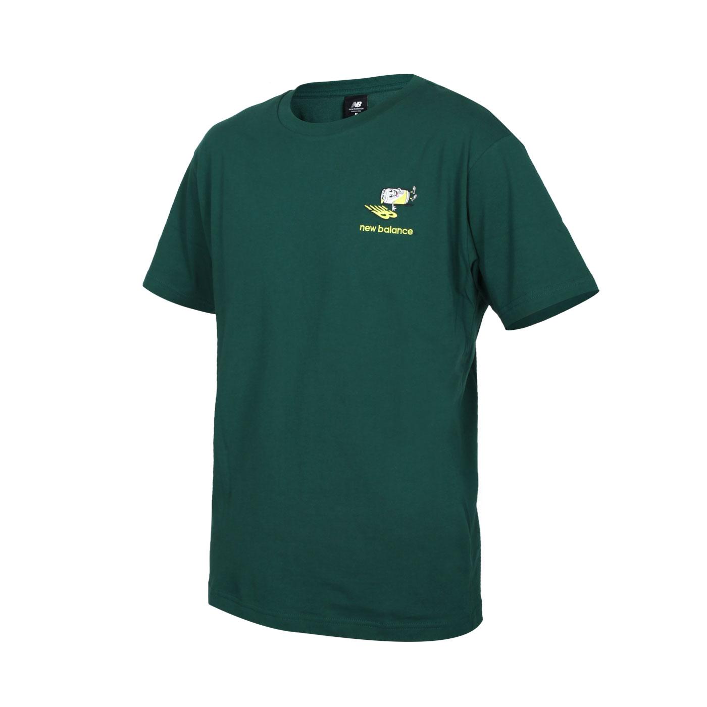 NEW BALANCE 男款短袖T恤 AMT13573NWG - 深綠螢光綠