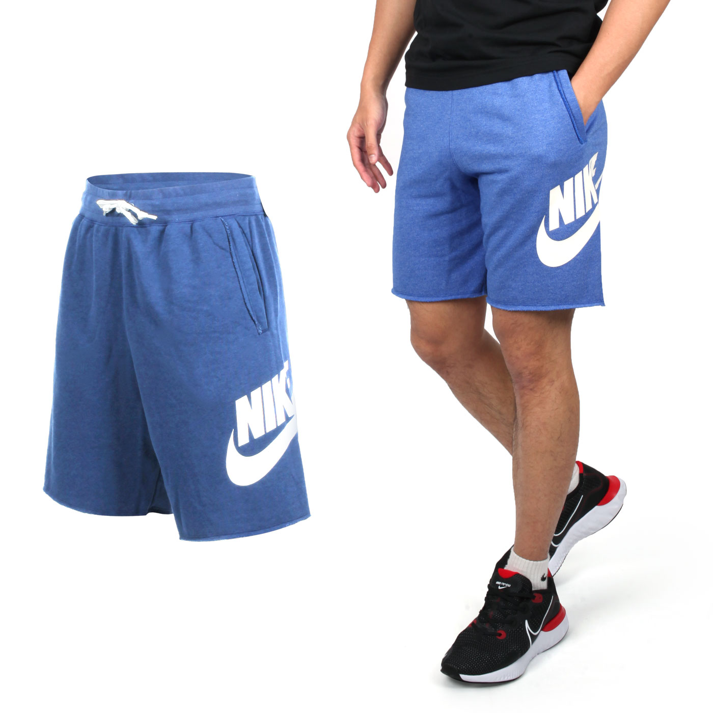 NIKE 男款休閒針織短褲 AR2376010 - 麻花藍白