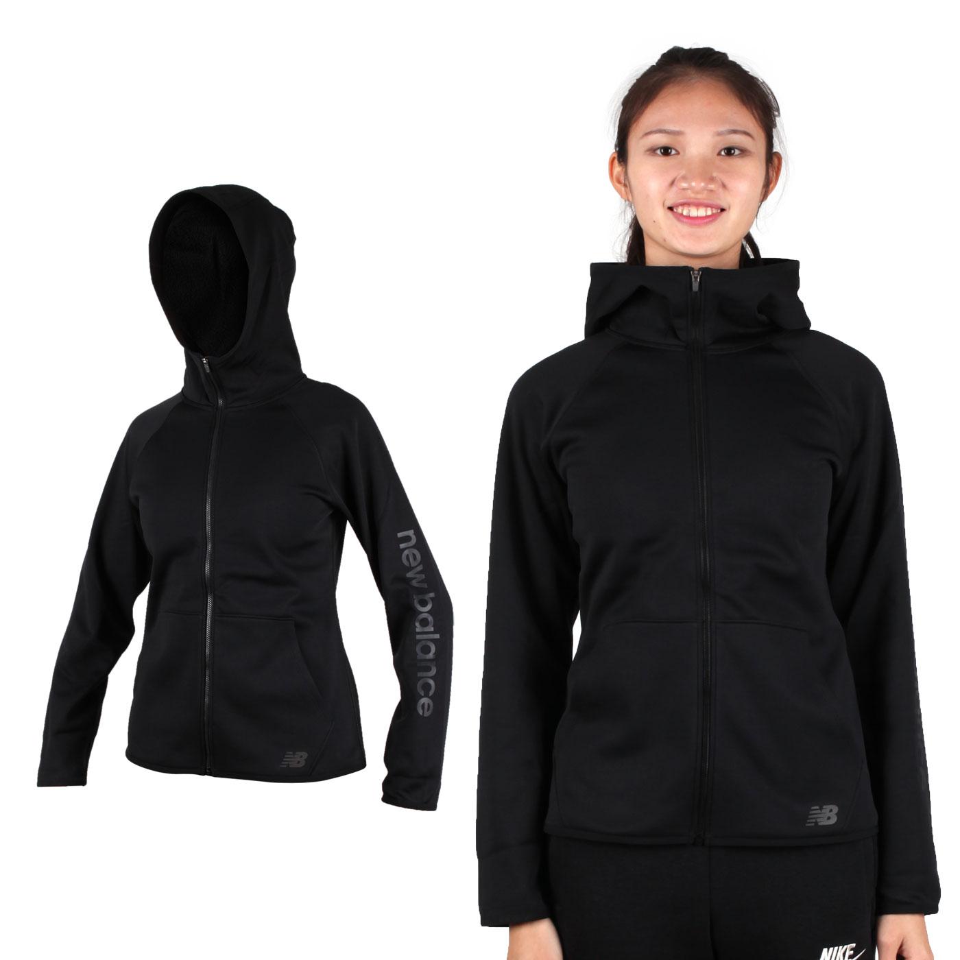 NEW BALANCE 女款刷毛連帽外套 AWJ73157BK - 黑