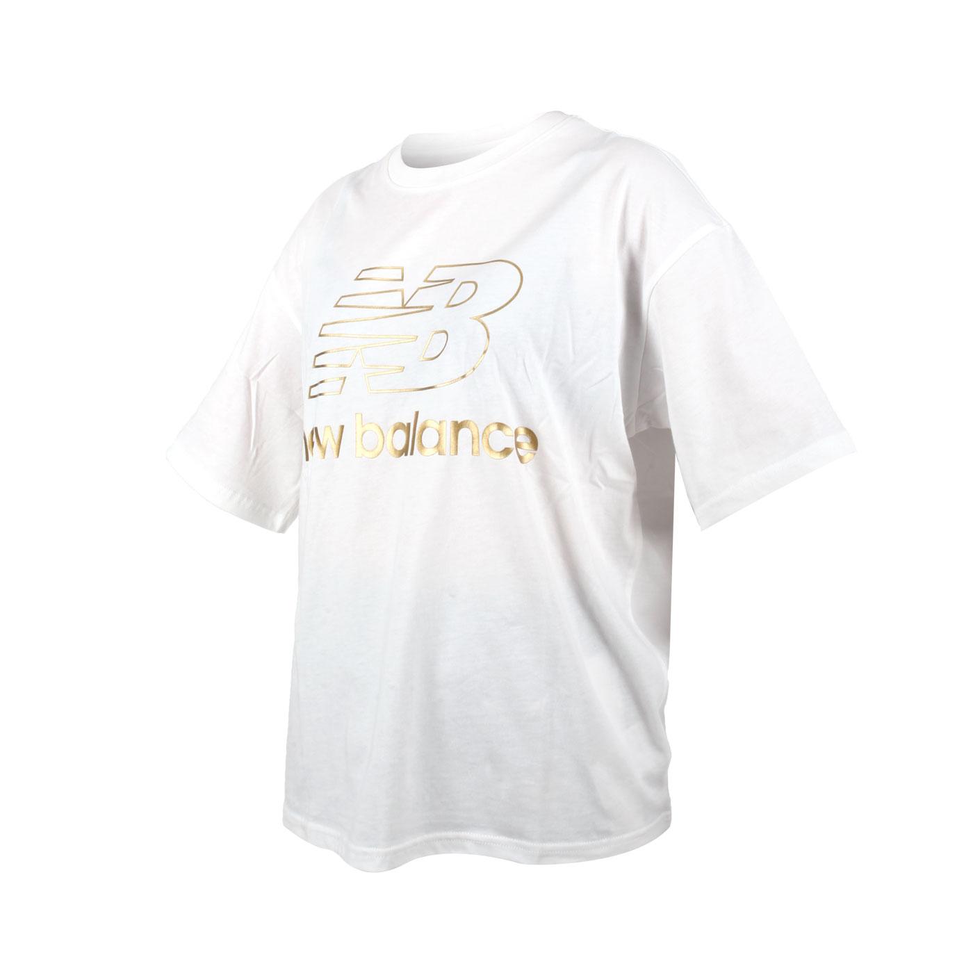 NEW BALANCE 女款寬鬆短袖T恤 AWT03505BK - 白金