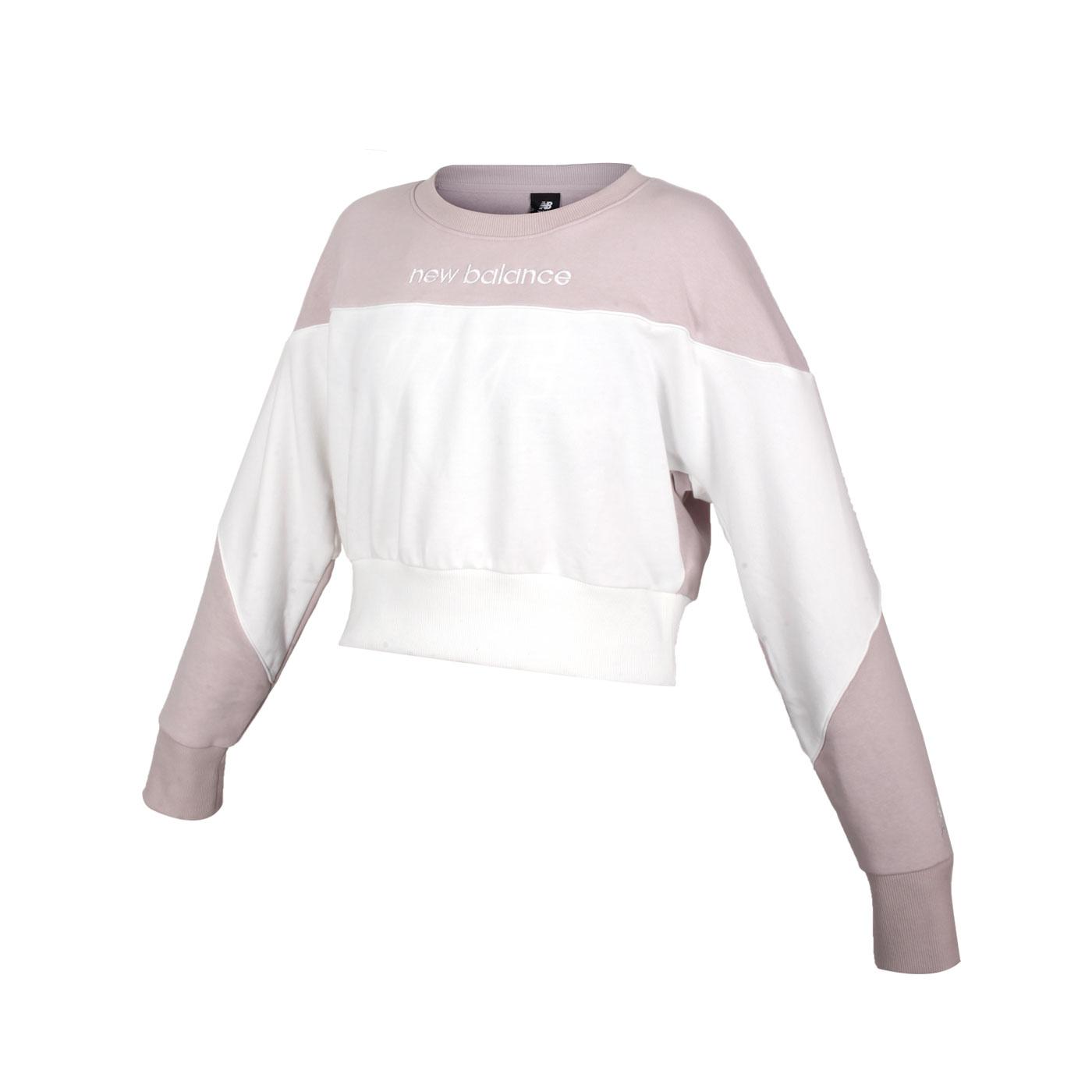 NEW BALANCE 女款短版圓領長袖T恤 AWT11503WM - 藕粉白