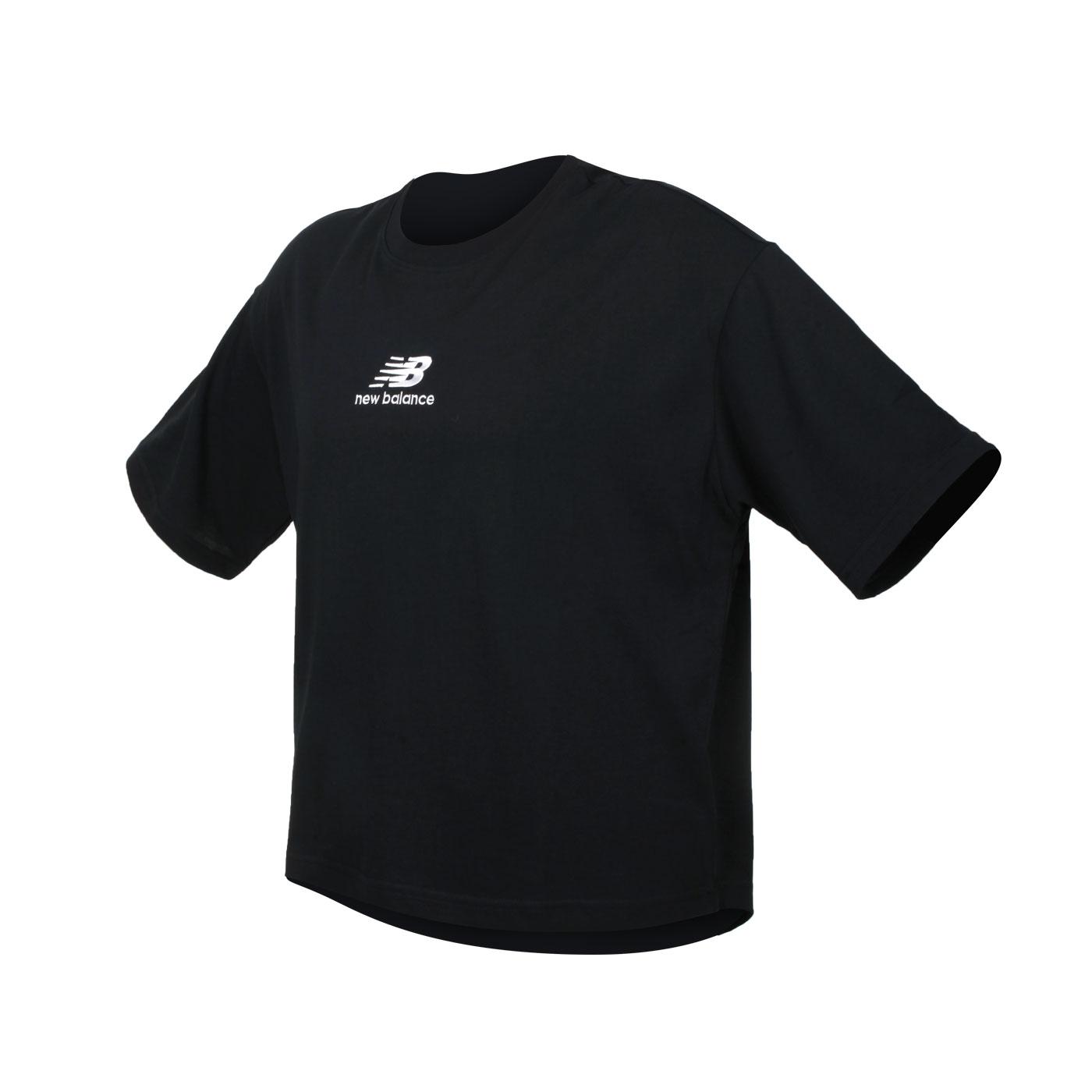 NEW BALANCE 女款前短後長短袖T恤 AWT11540BK - 黑白