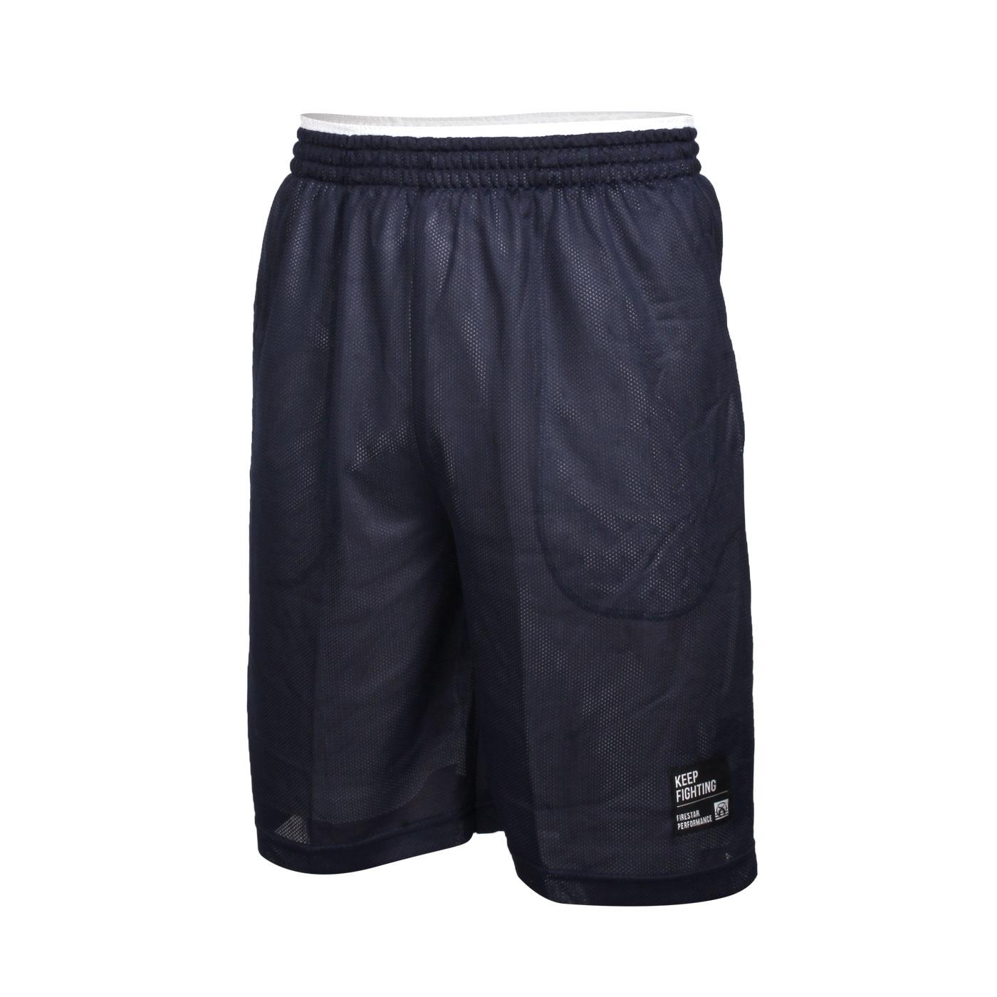 FIRESTAR 男款雙面訓練籃球短褲 B1706-93 - 丈青白