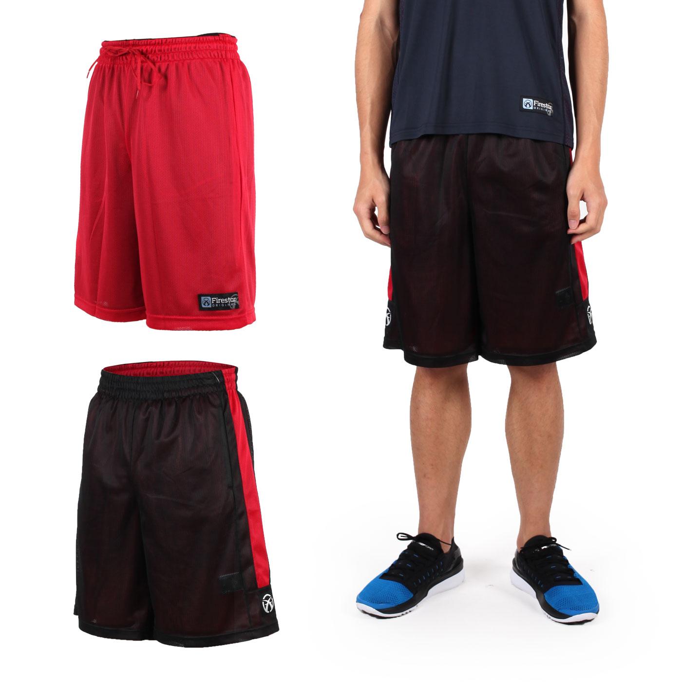 FIRESTAR 男雙面網布籃球褲 B6306-10 - 黑紅
