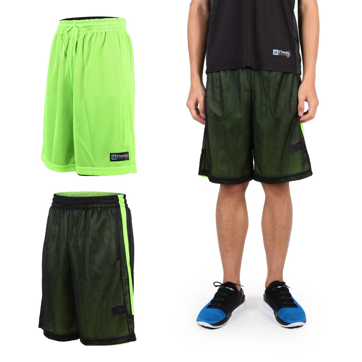 FIRESTAR 男雙面網布籃球褲 B6306-10 - 黑螢光綠