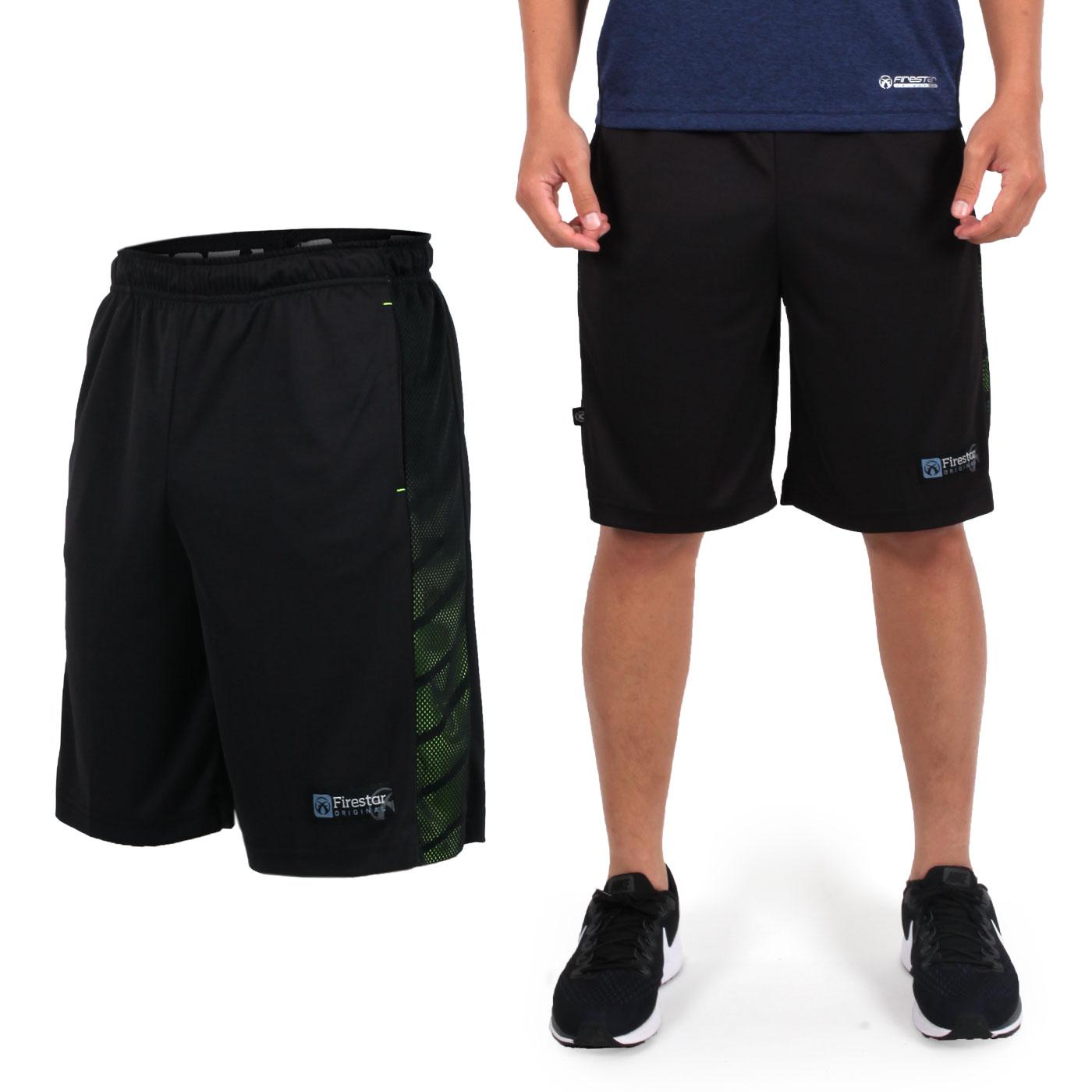 FIRESTAR 男款吸排籃球褲 B7601-10 - 黑螢光綠