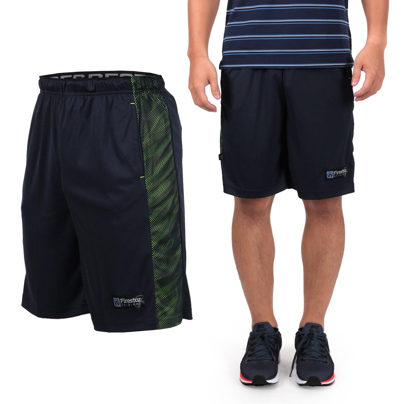 FIRESTAR 男籃球褲 B7603-40 - 深藍螢光綠