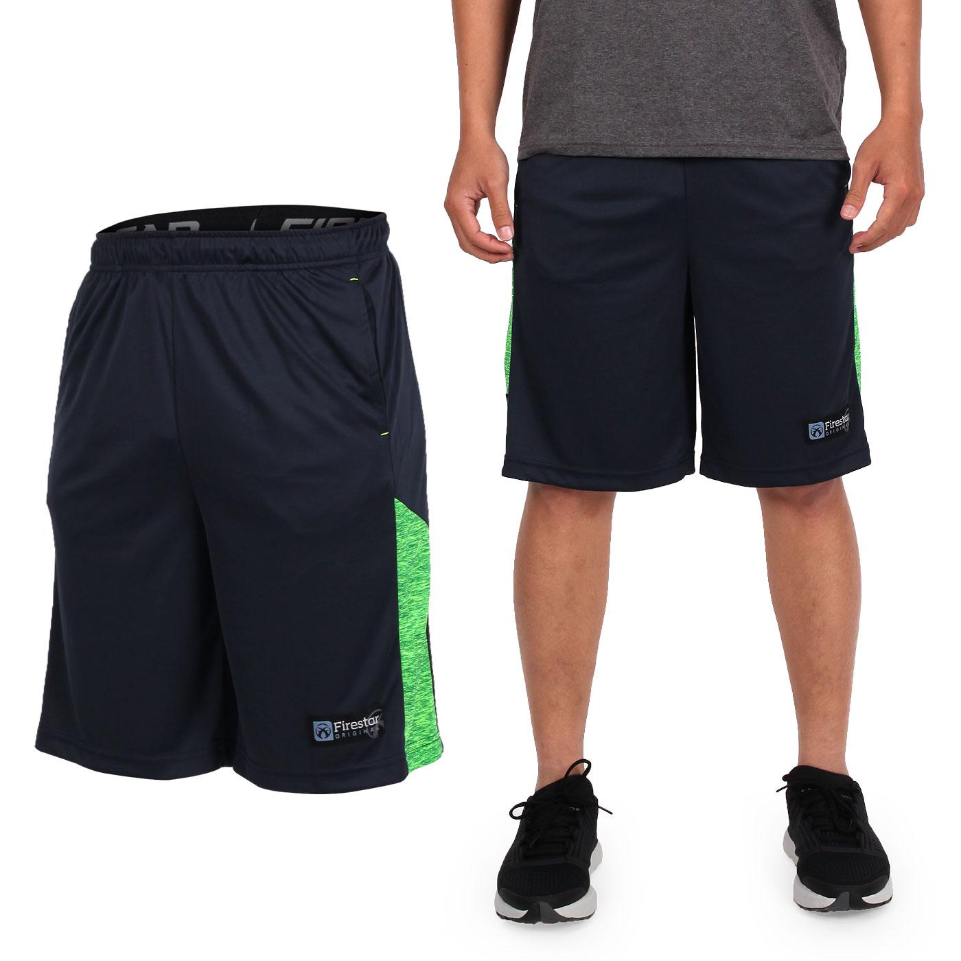 FIRESTAR 男籃球褲 B7605-10 - 丈青淺綠