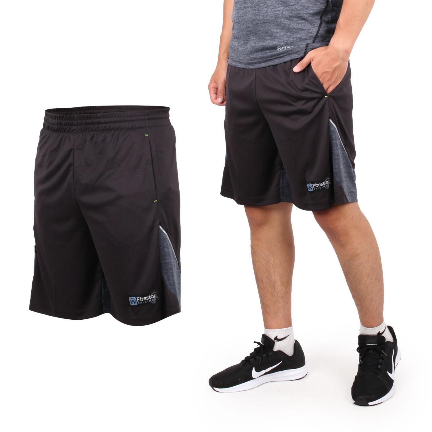 FIRESTAR 男針織籃球短褲 B8003-18 - 黑灰