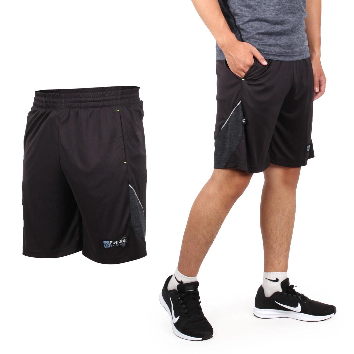 FIRESTAR 男針織籃球短褲 B8003-18 - 黑