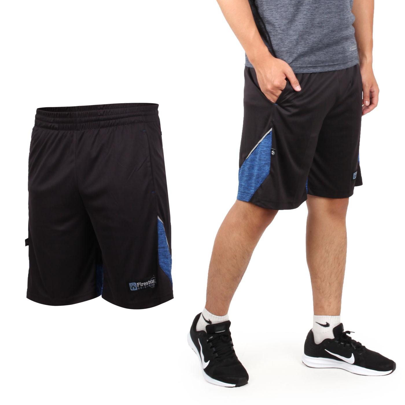 FIRESTAR 男針織籃球短褲 B8003-18 - 黑藍