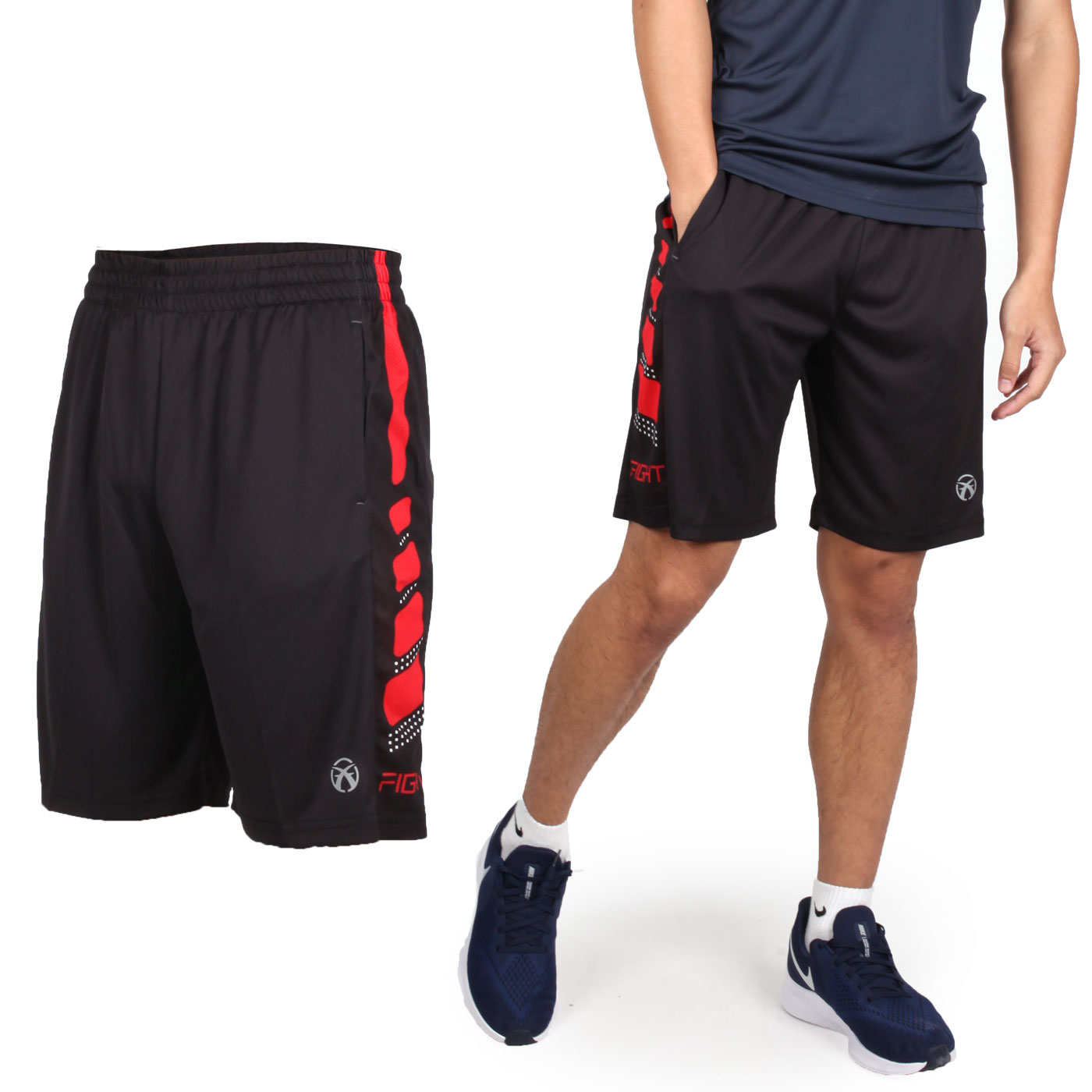 FIRESTAR 男款吸濕排汗籃球短褲 B9201-18 - 黑紅