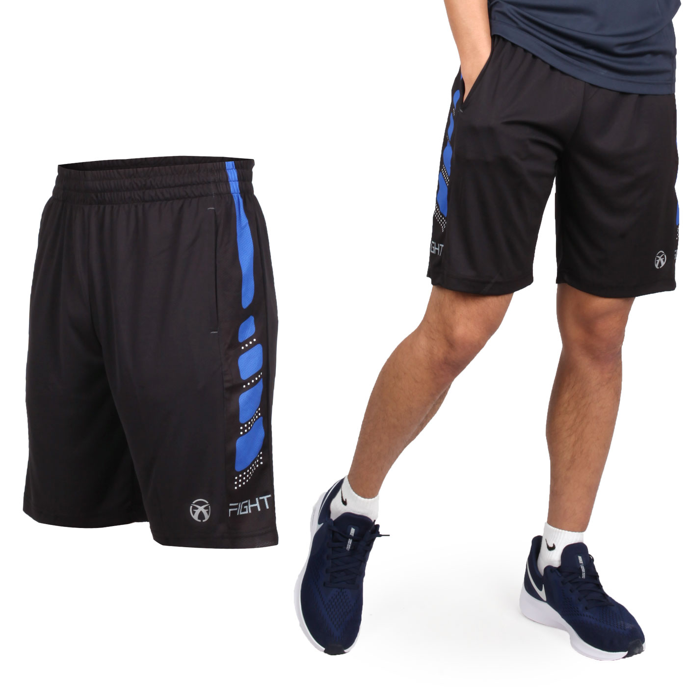 FIRESTAR 男款吸濕排汗籃球短褲 B9201-18 - 黑藍