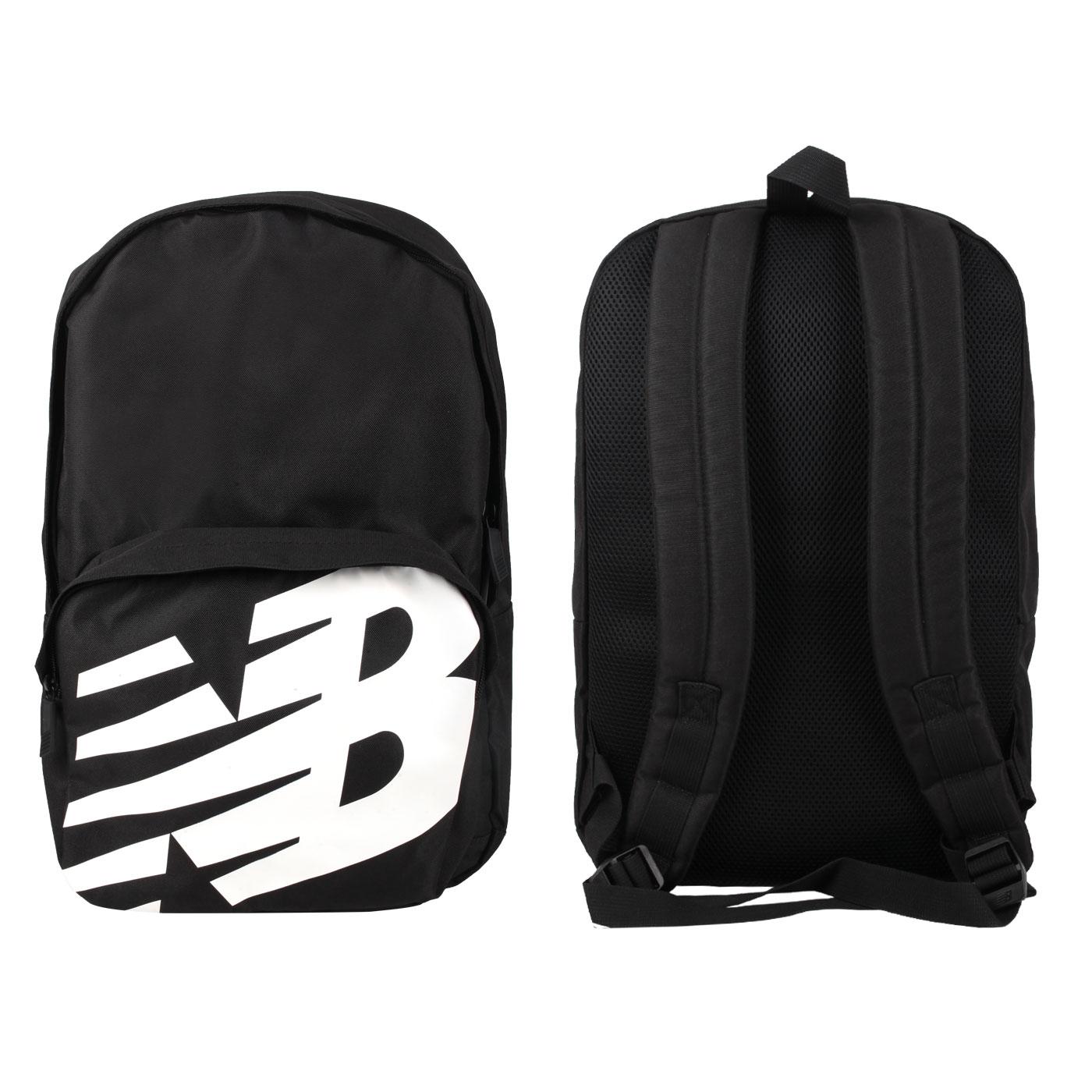 NEW BALANCE 中型後背包 BG01009GBK - 黑白