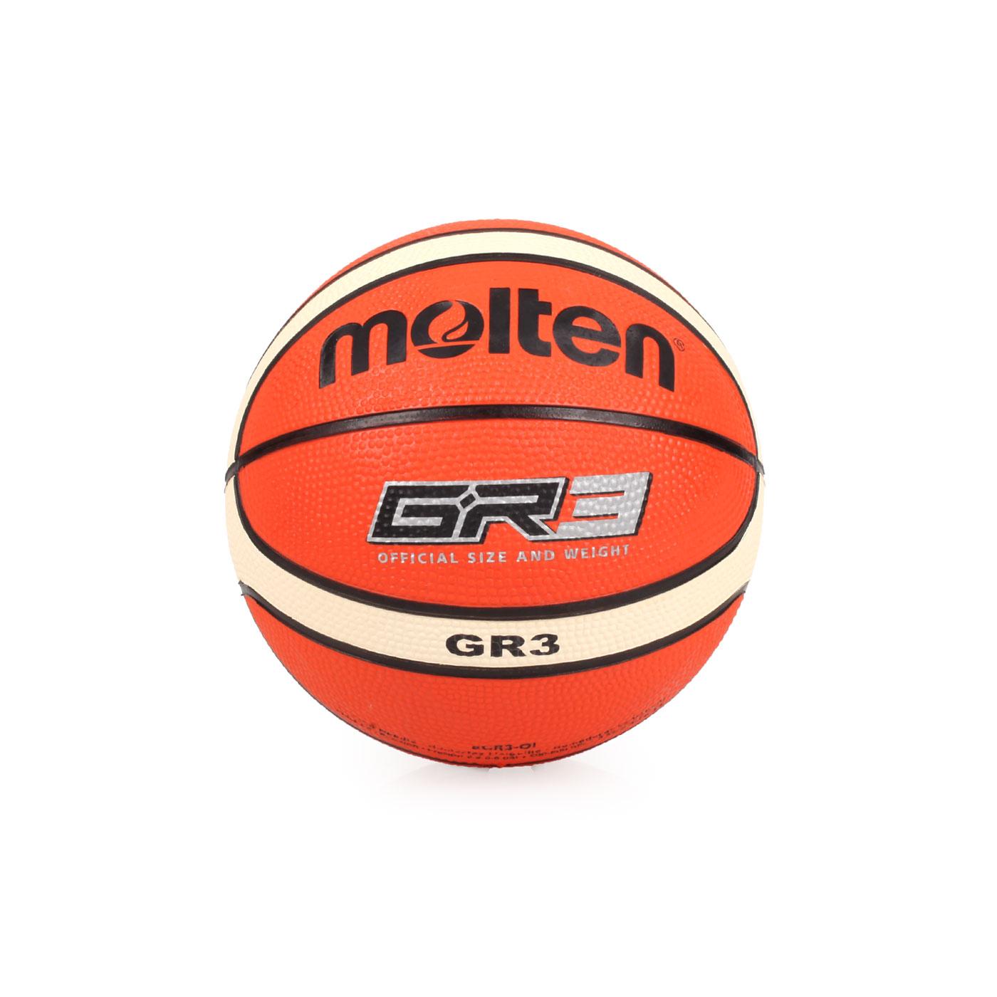 Molten 12片橡膠平溝籃球#3 BGR3-OI - 米白橘