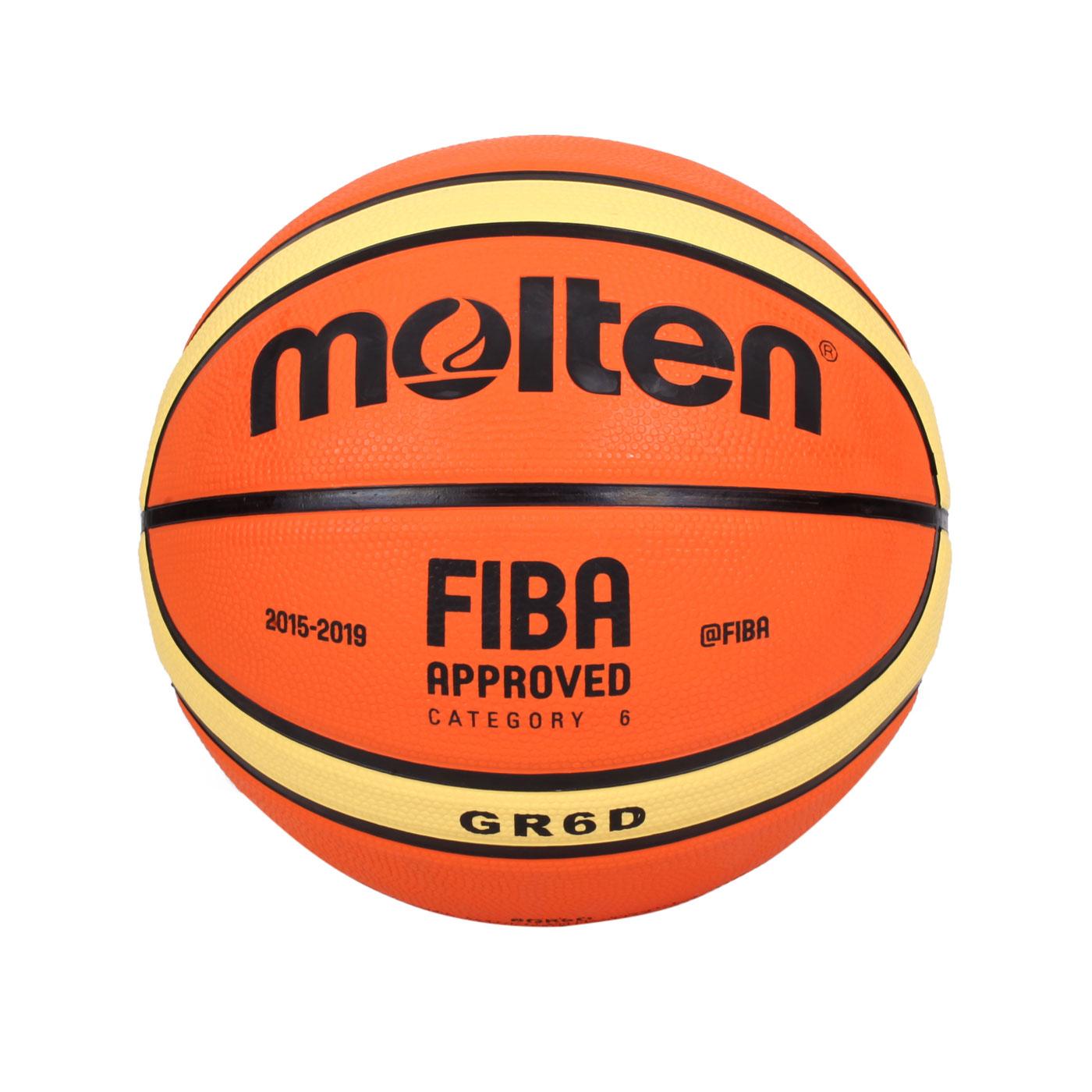 Molten #6橡膠深溝12片貼籃球 BGR6D - 橘黃