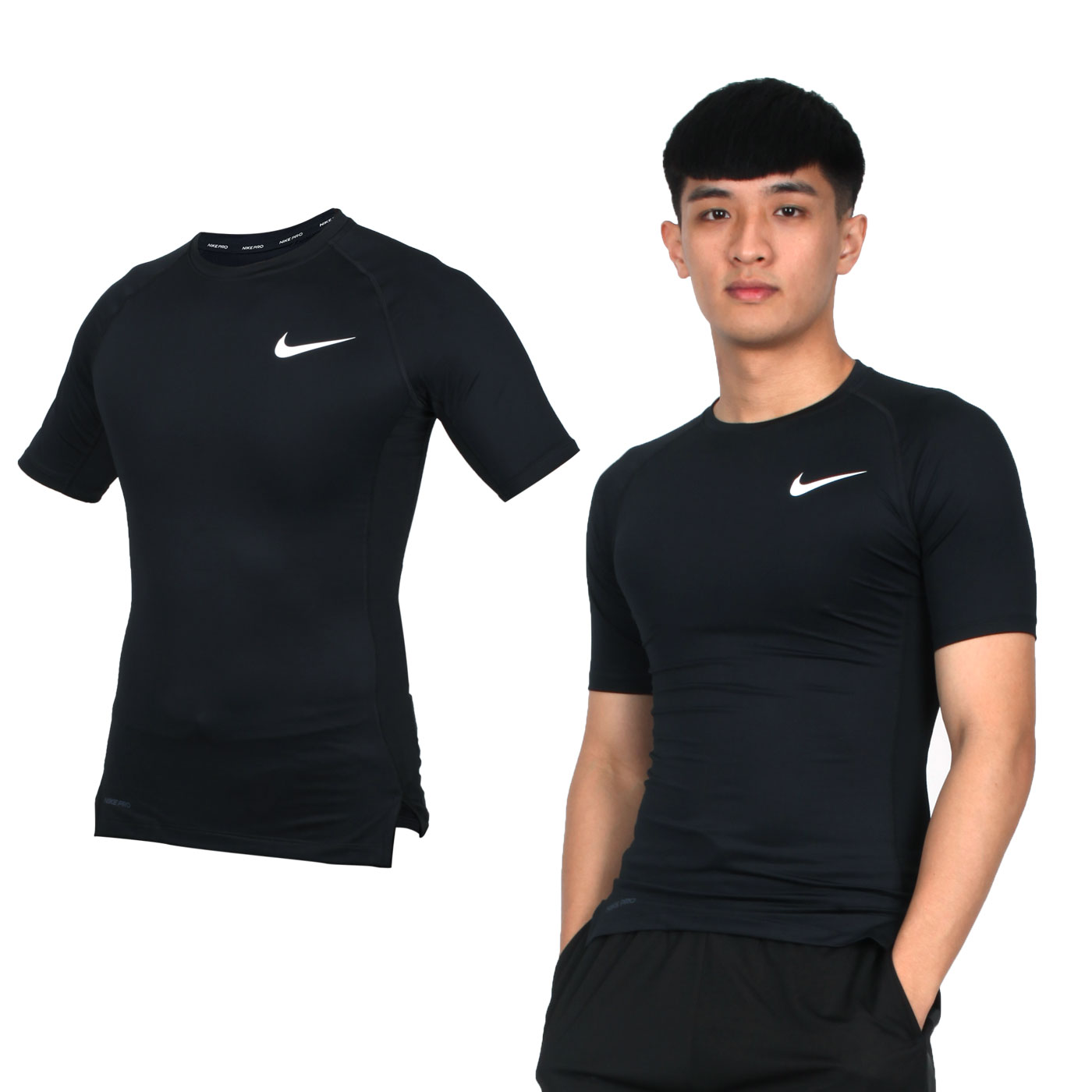 NIKE 男款短袖緊身衣 BV5632-010 - 黑白