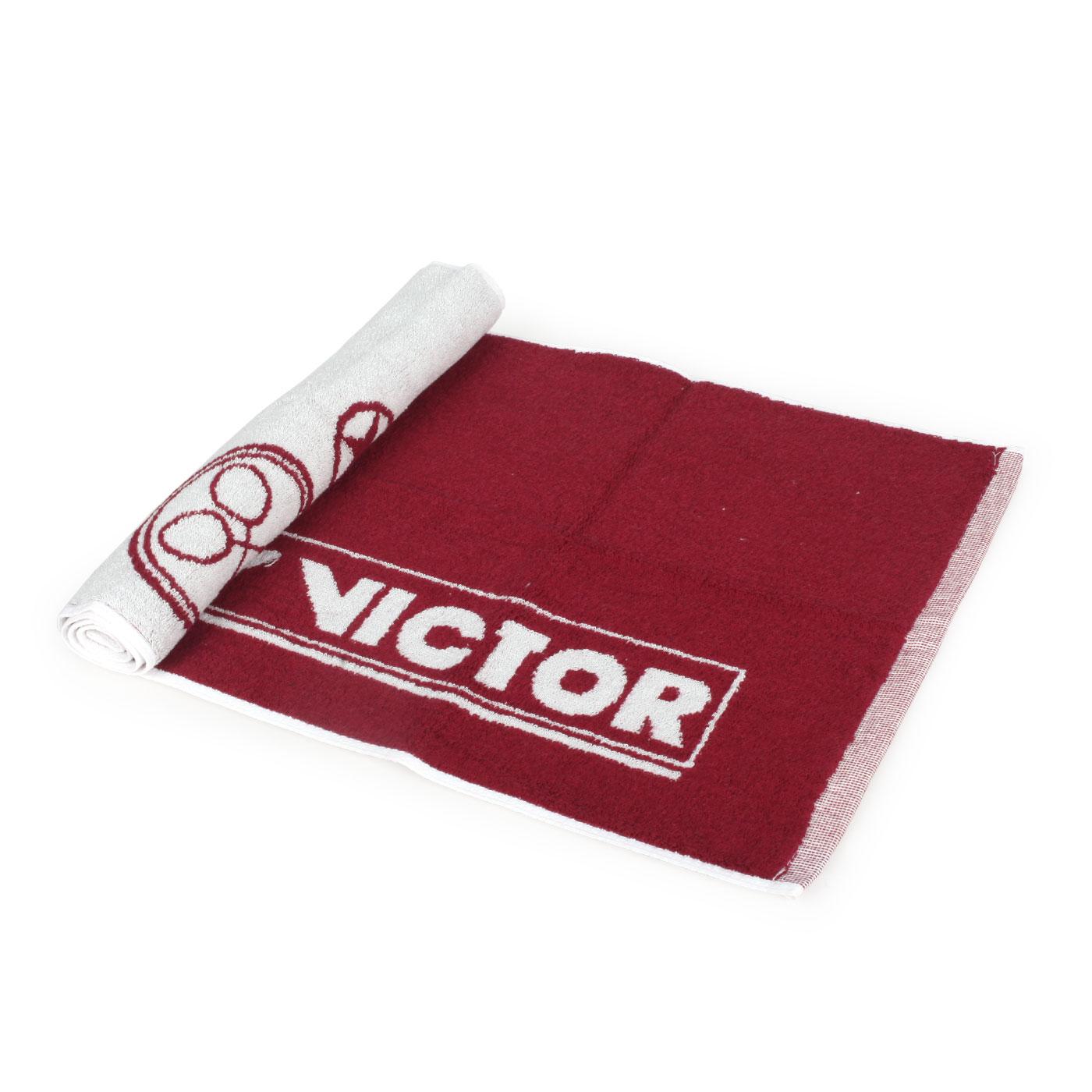 VICTOR 運動毛巾 C-4159D - 酒紅白