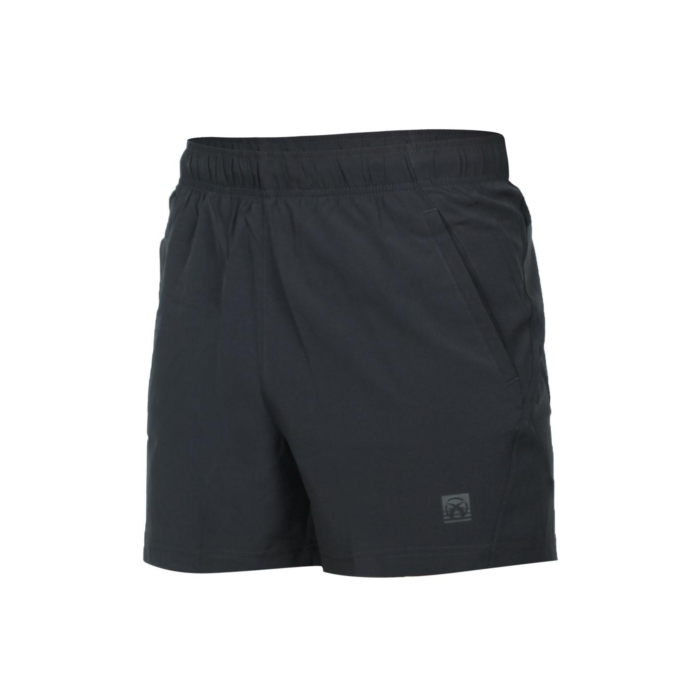 FIRESTAR 男款彈性平織慢跑短褲 C1710-15 - 深灰黑銀