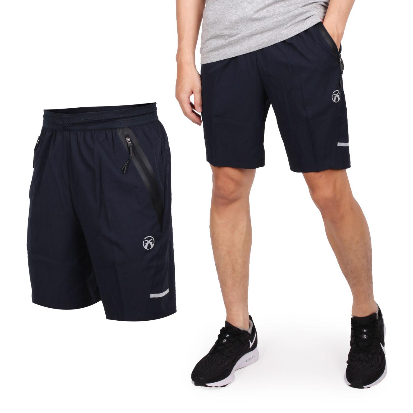 FIRESTAR 男彈性平織短褲 C9216-10 - 丈青銀