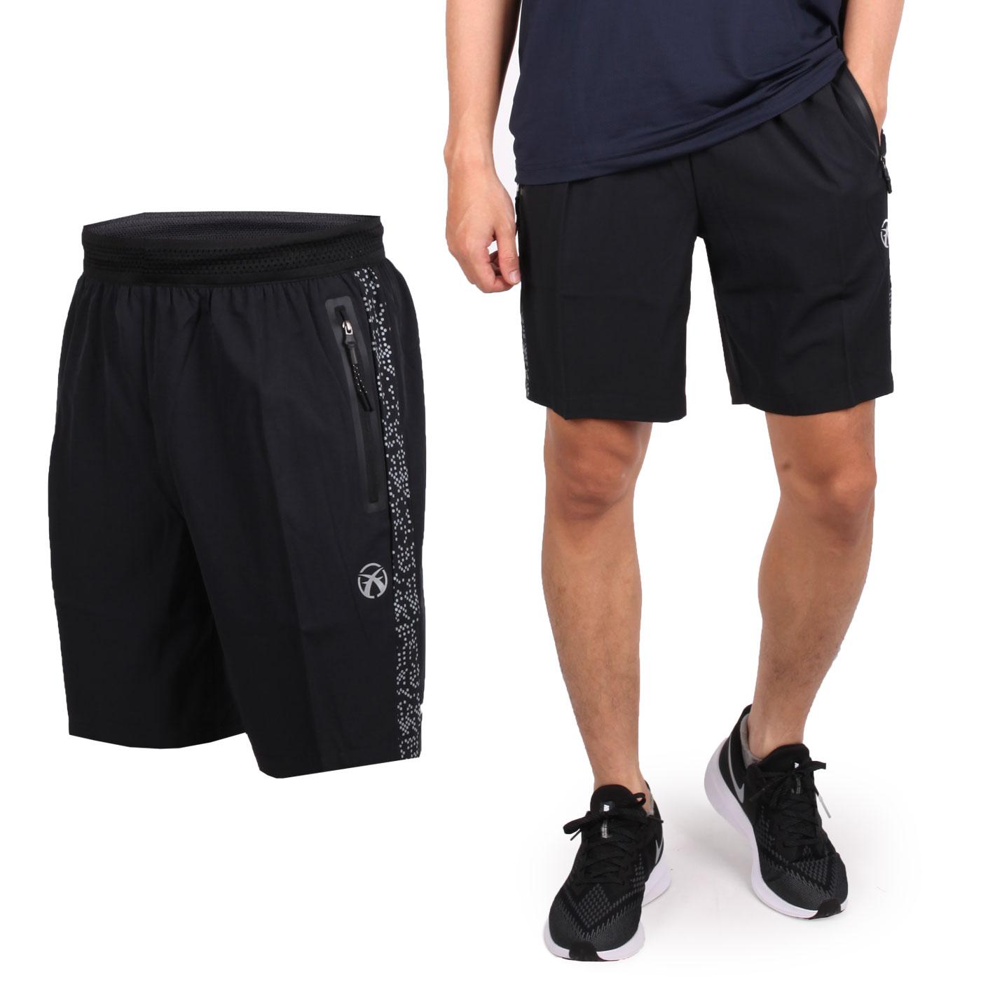 FIRESTAR 男款彈性平織短褲 C9218-10 - 黑銀