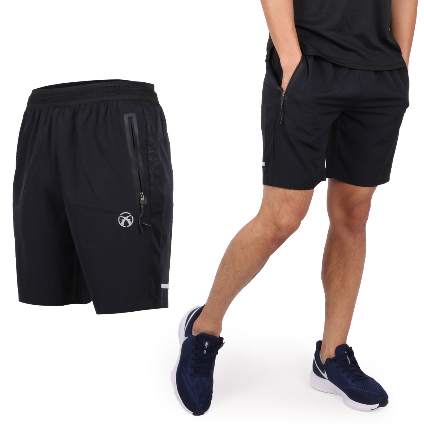 FIRESTAR 男款彈性平織短褲 C9219-10 - 黑銀