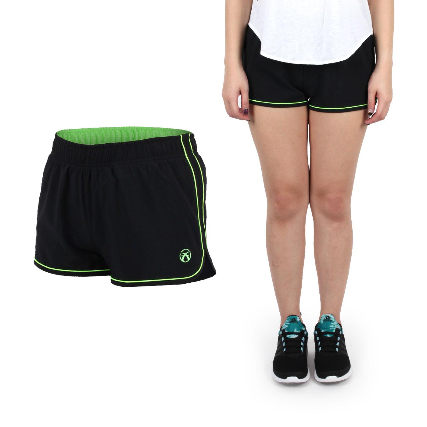FIRESTAR 女款彈性平織慢跑短褲  CL625-10 - 黑螢光綠
