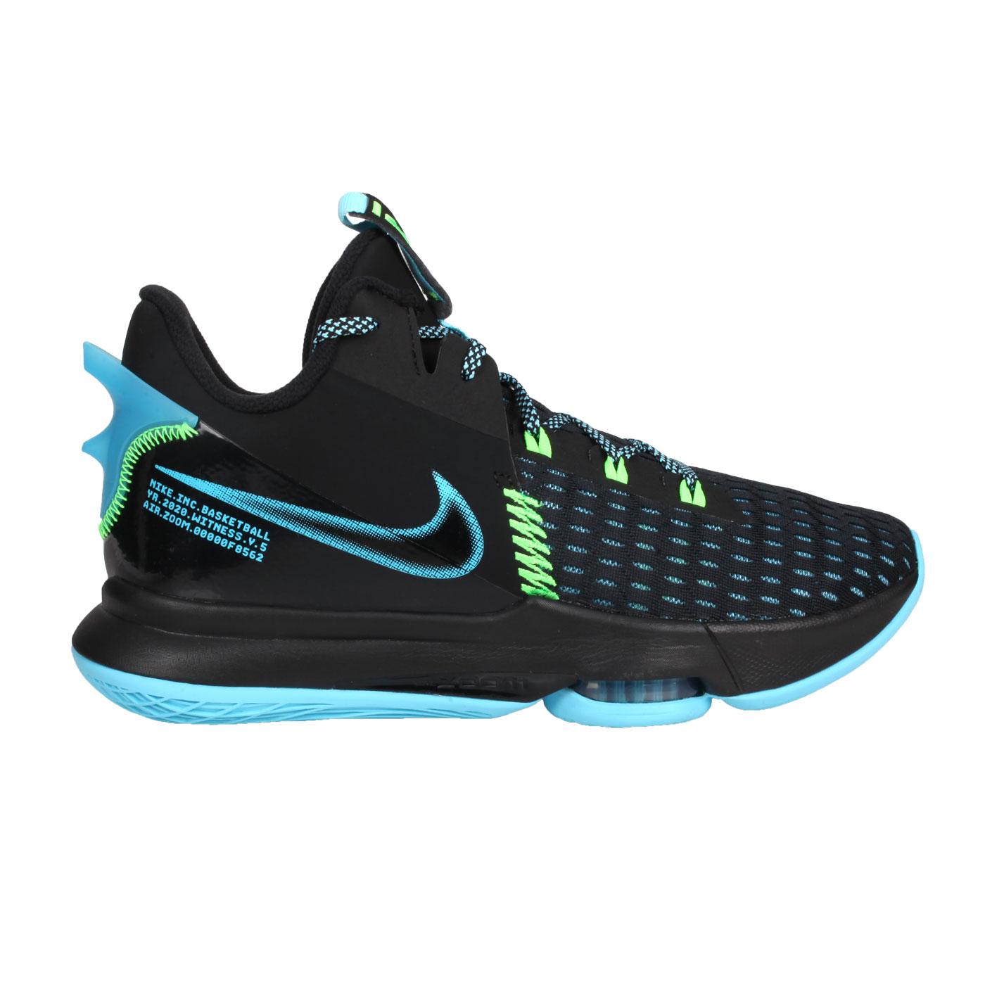 NIKE 男款籃球鞋  @LEBRON WITNESS V EP@CQ9381004 - 黑藍螢光綠