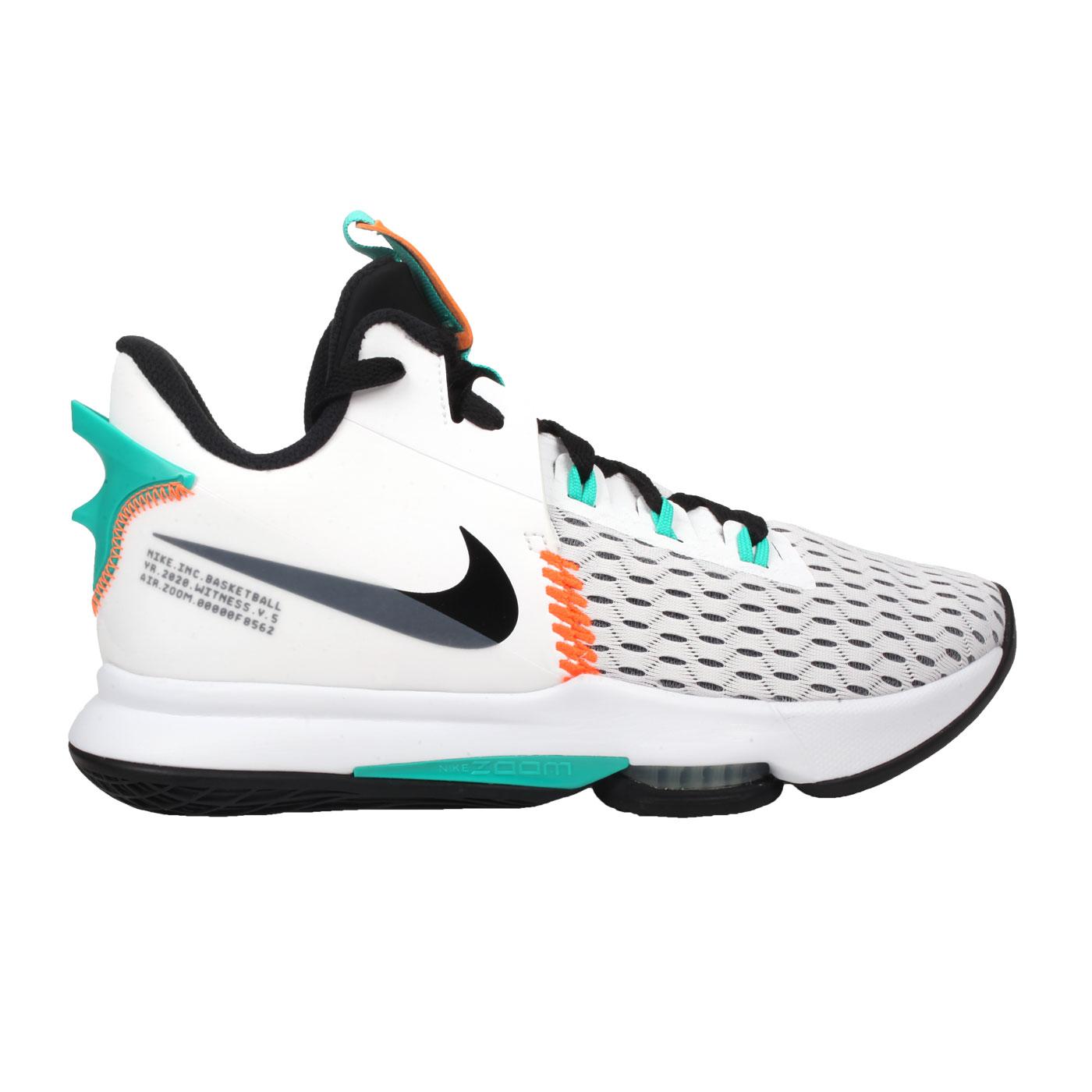 NIKE 男款籃球鞋  @LEBRON WITNESS V EP@CQ9381100 - 白灰黑綠橘