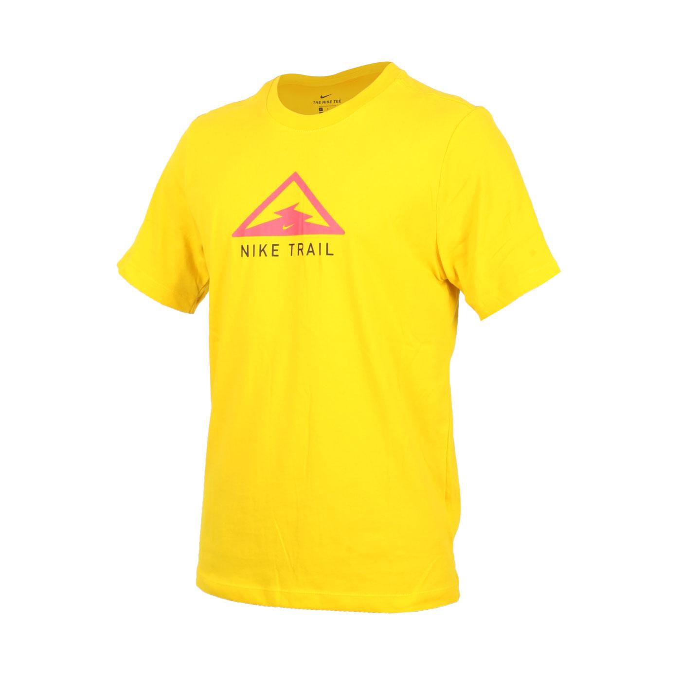 NIKE 男款越野跑步短袖T恤 CT3858-010 - 黃桃紅黑
