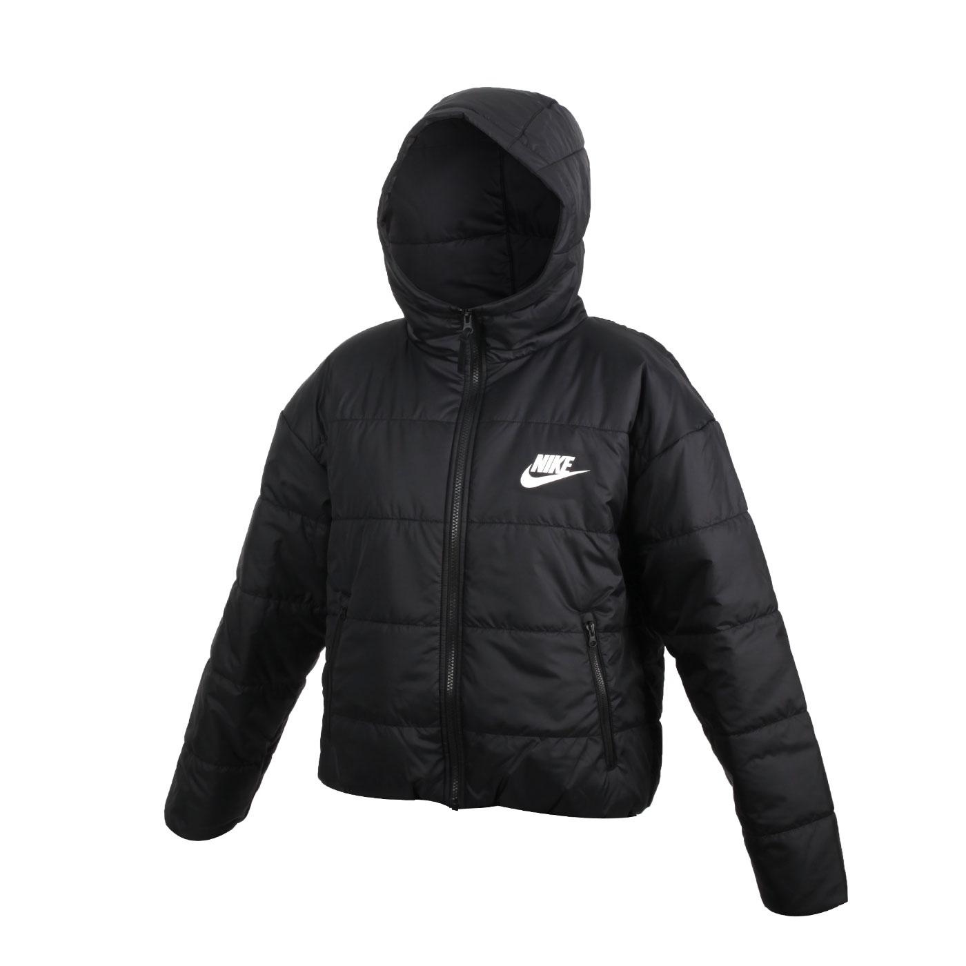 NIKE 女款保暖鋪棉防風連帽外套 CZ1467-010 - 黑白