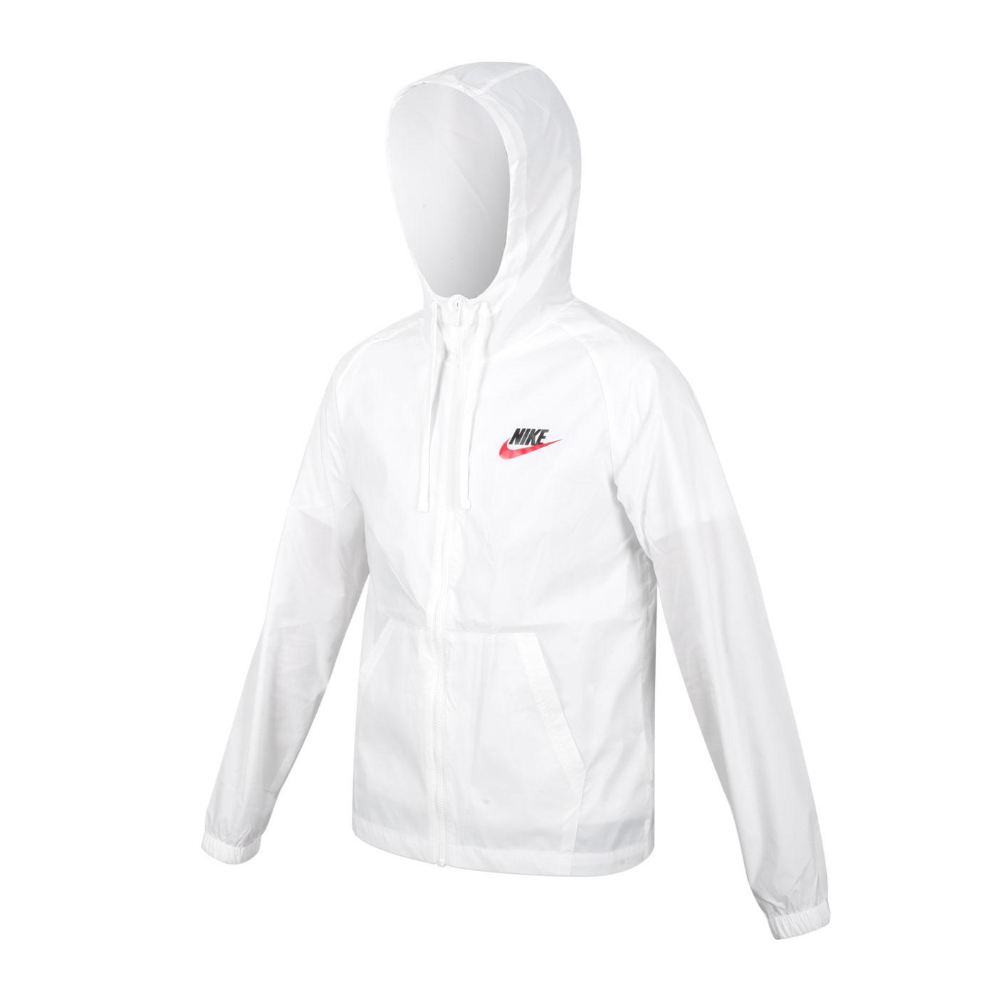 NIKE 男款防風連帽外套 CZ8677-100 - 白黑紅