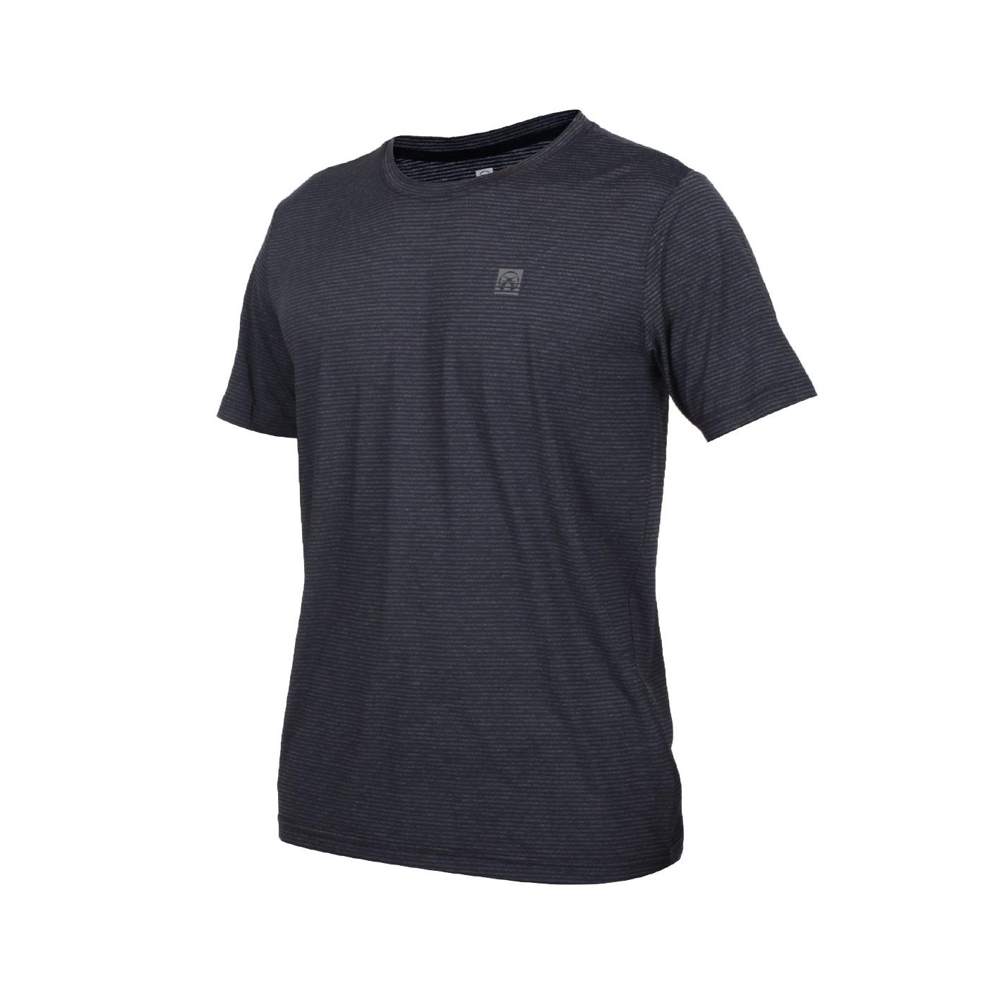 FIRESTAR 男款彈性圓領短袖T恤 D0530-18 - 條紋黑灰
