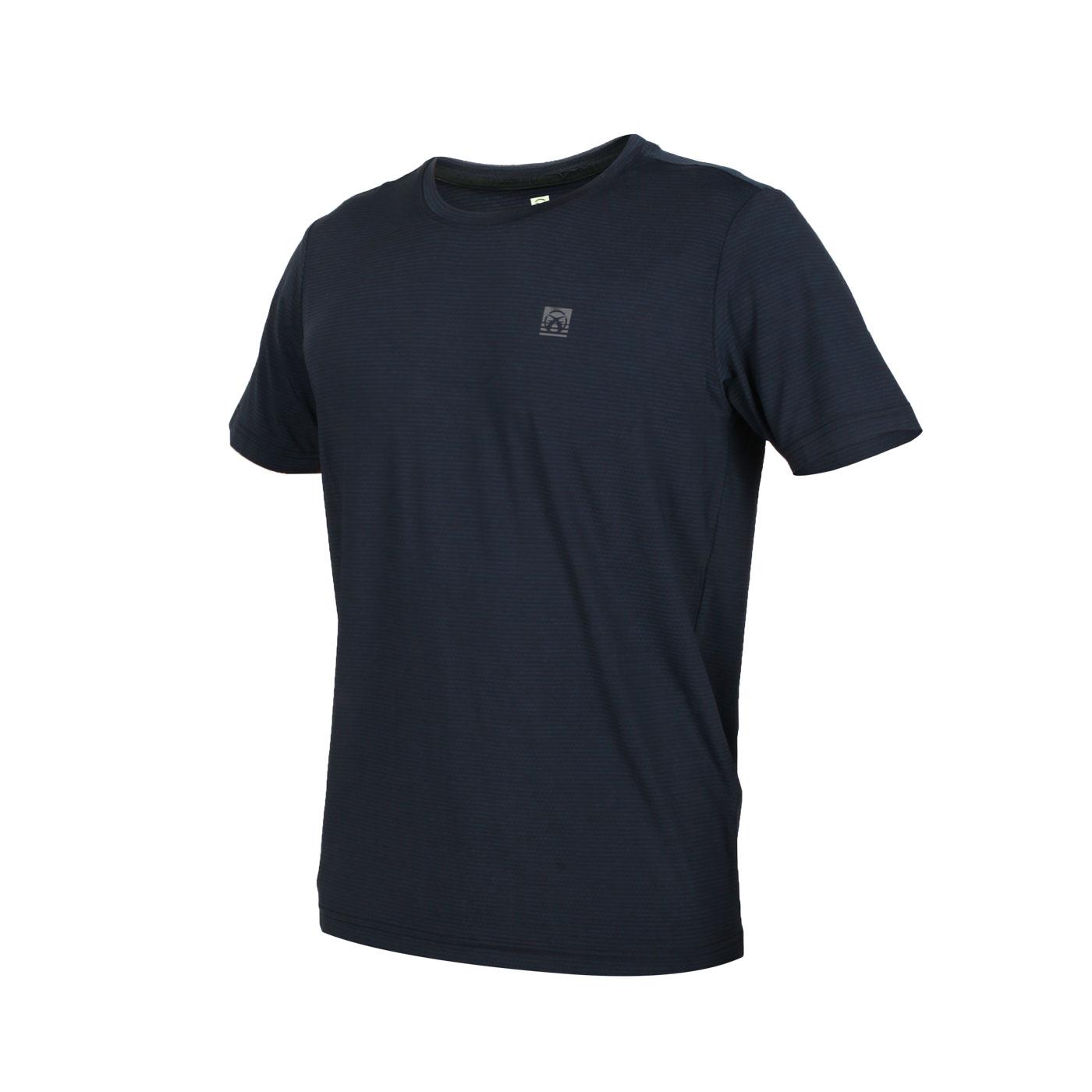 FIRESTAR 男款彈性圓領短袖T恤 D0530-18 - 條紋墨藍黑