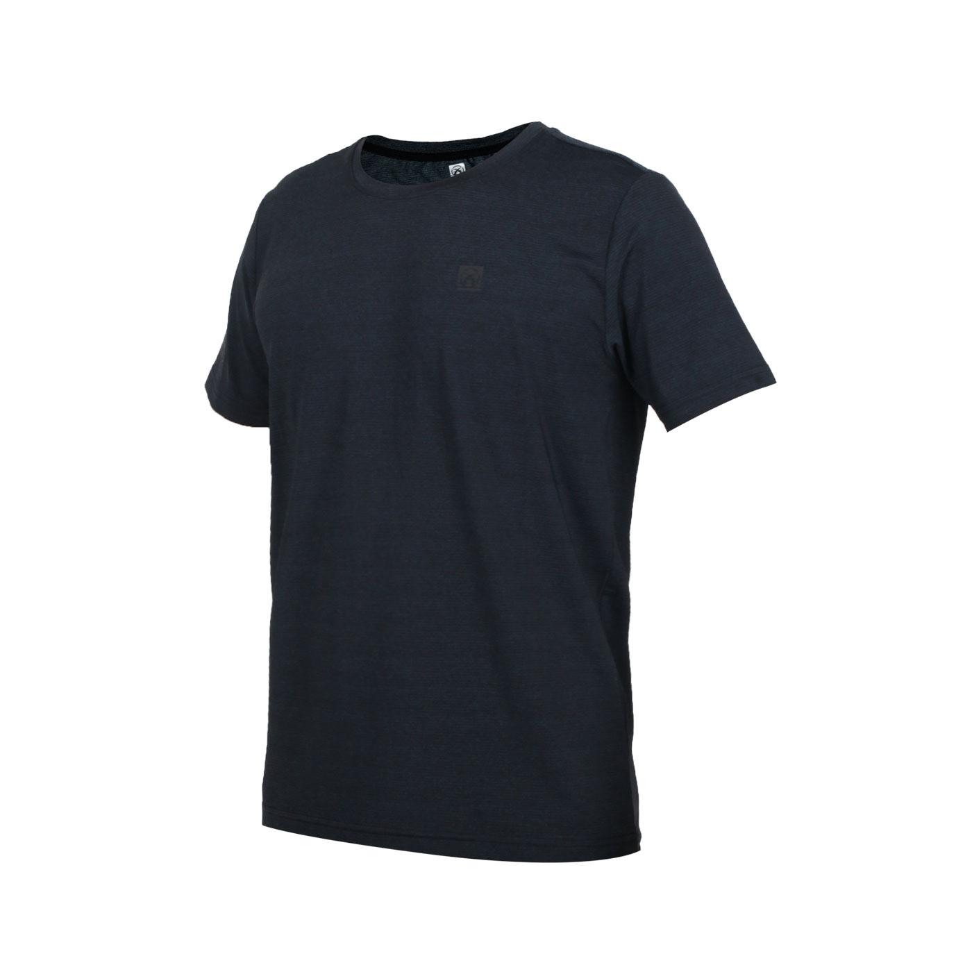 FIRESTAR 男款彈性圓領短袖T恤 D0531-93 - 麻花深藍黑