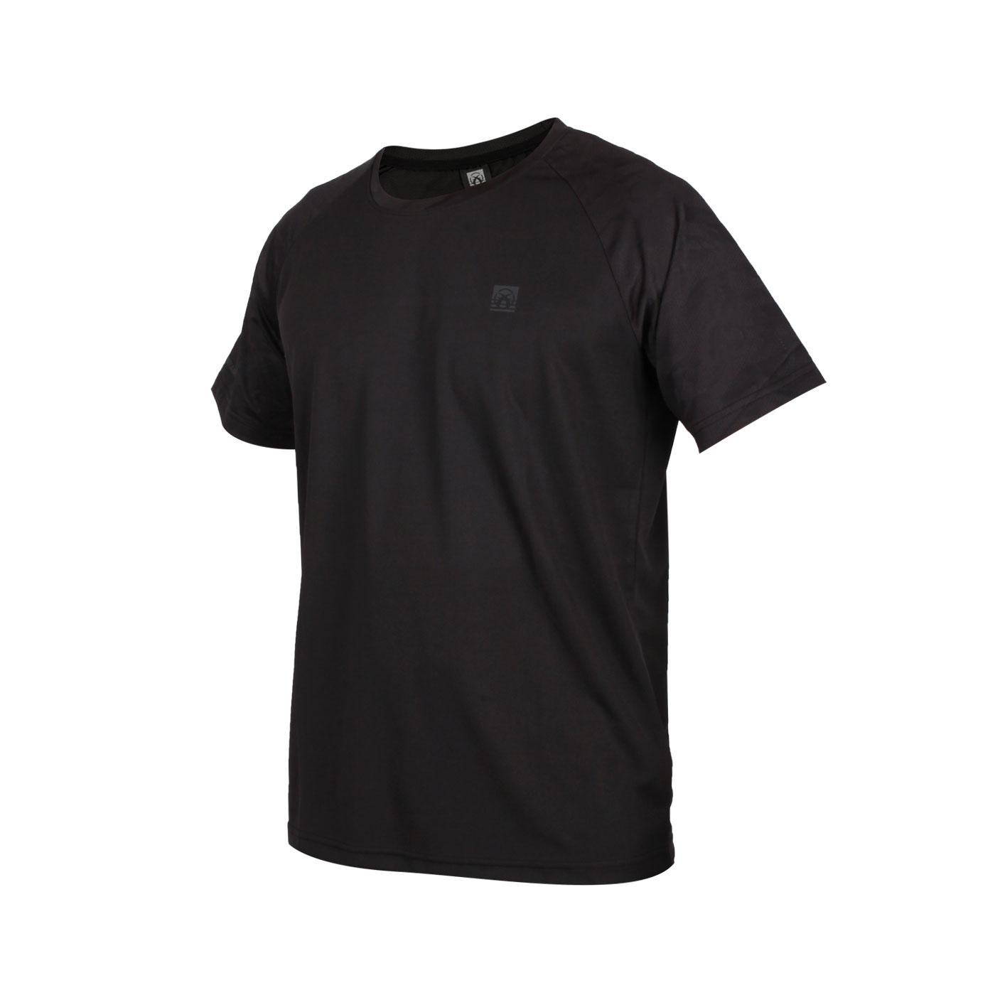 FIRESTAR 男款吸濕排汗剪接圓領短袖T恤 D0533-10 - 黑