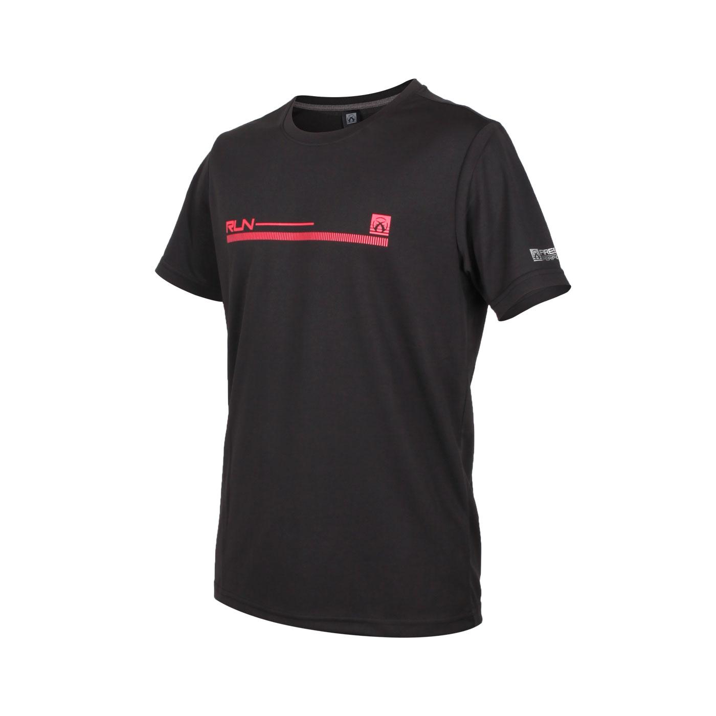 FIRESTAR 男款吸排印花圓領短袖T恤 D0536-10 - 黑紅