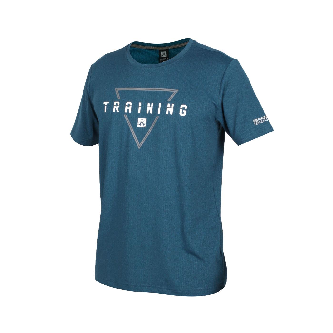 FIRESTAR 男款彈性印花圓領短袖T恤 D0537-18 - 墨藍灰白