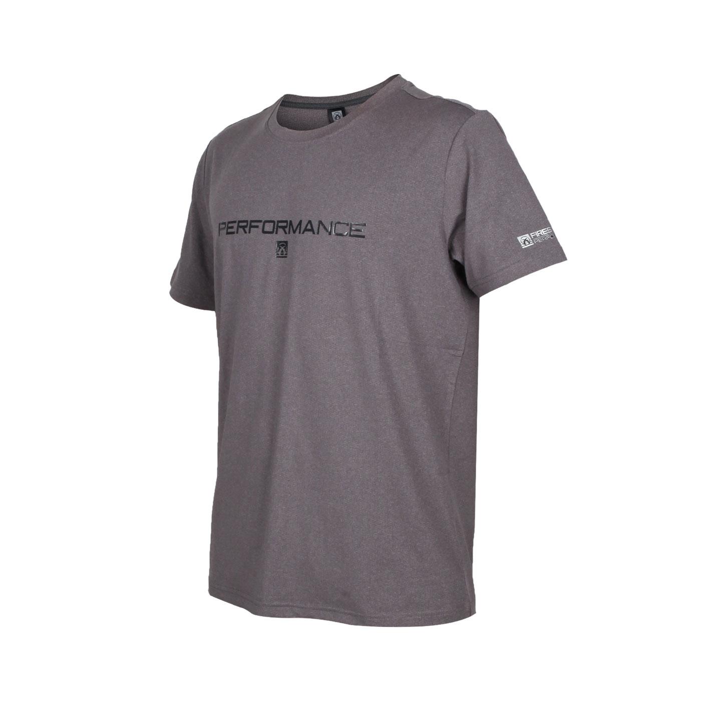 FIRESTAR 男款彈性印花圓領短袖T恤 D0538-18 - 深麻灰黑