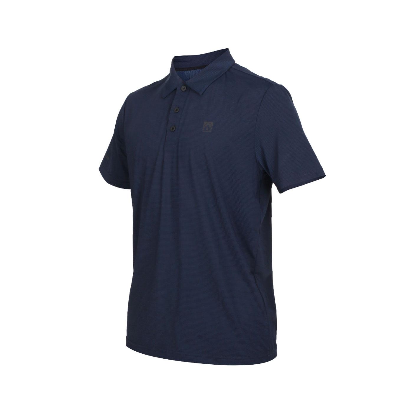 FIRESTAR 男款彈性短袖POLO衫 D0551-18 - 丈青黑