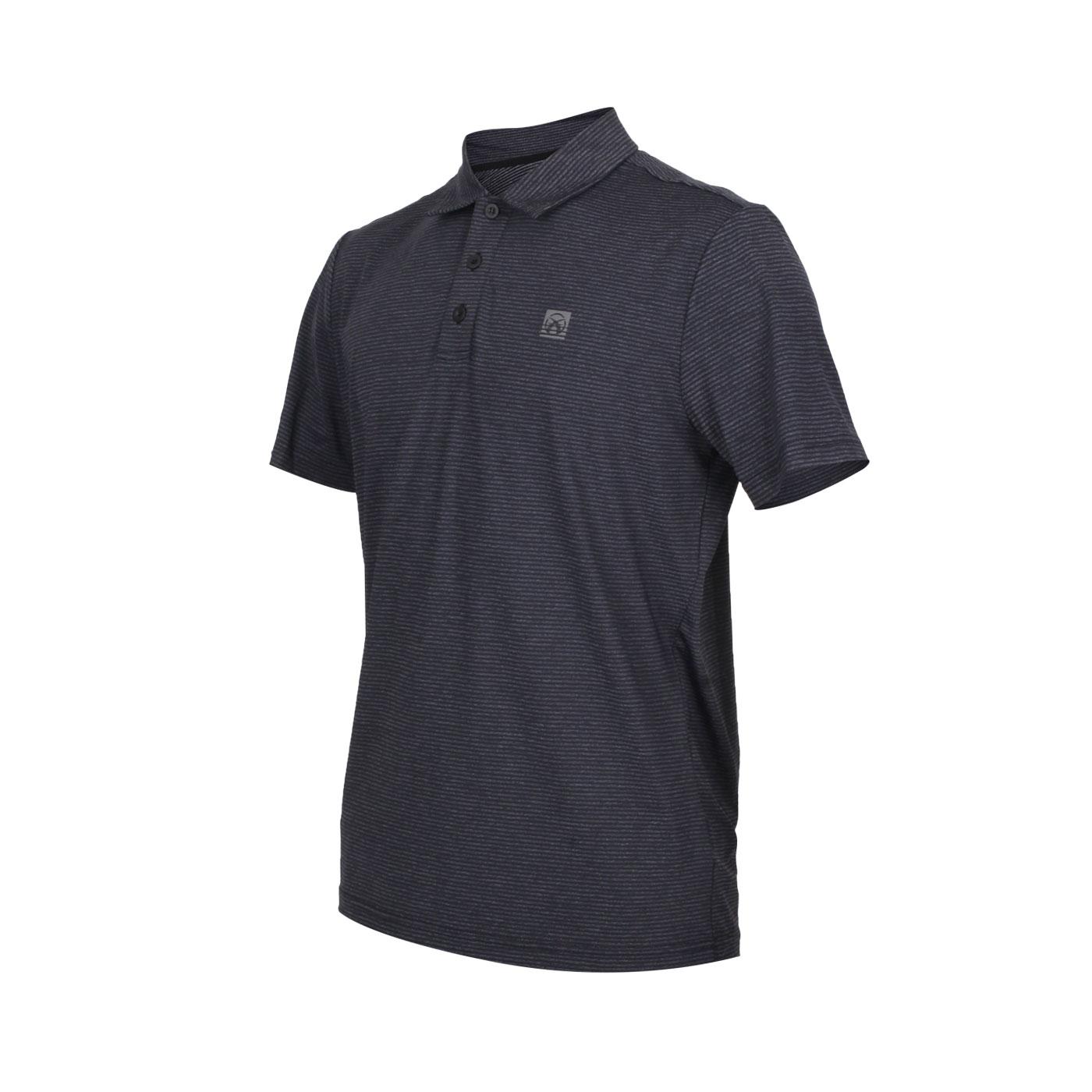 FIRESTAR 男款彈性短袖POLO衫 D0552-18 - 條紋黑灰