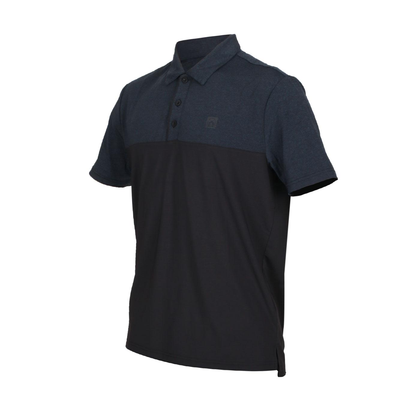 FIRESTAR 男款彈性剪接短袖POLO衫 D0553-18 - 麻花墨藍黑