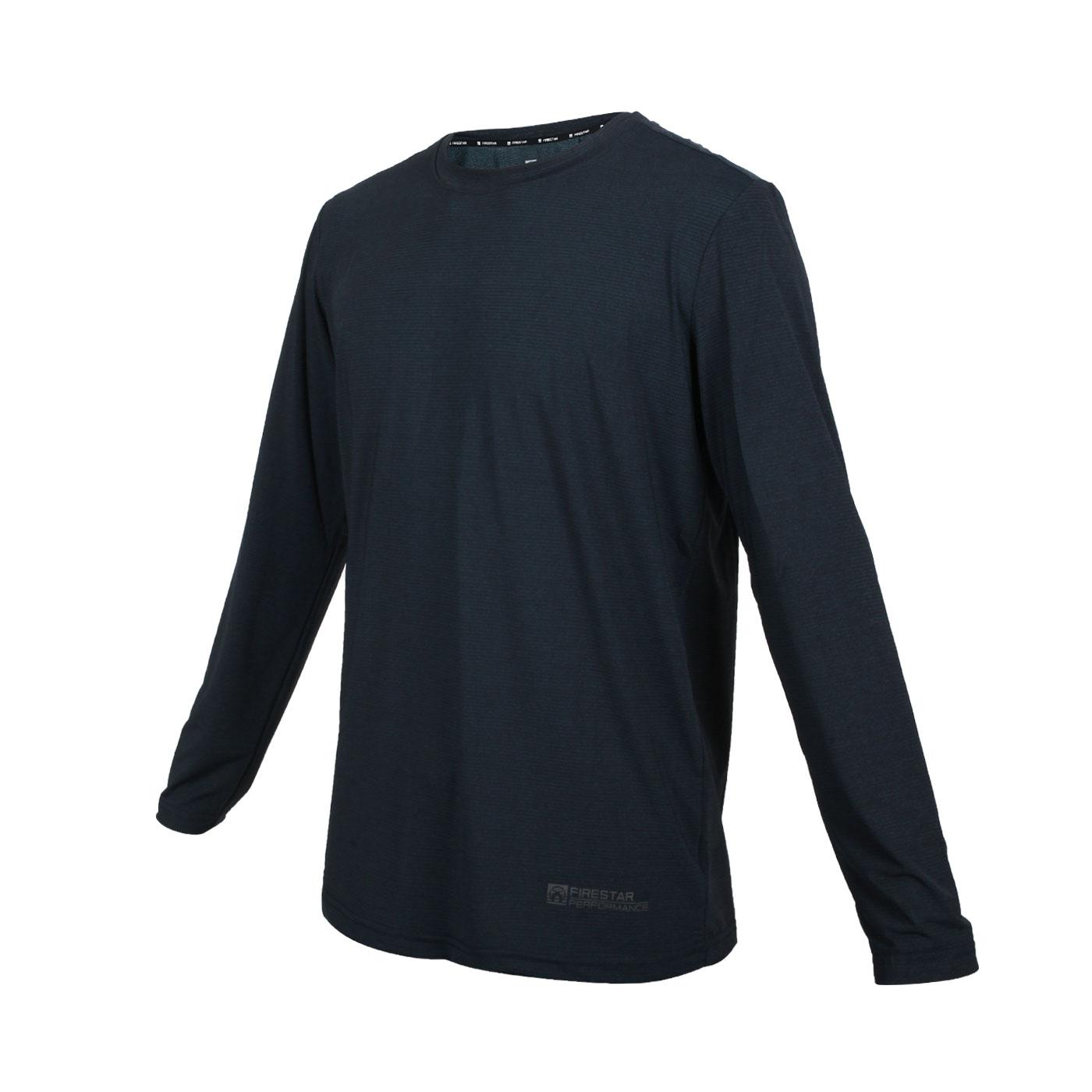 FIRESTAR 男彈性圓領長袖T恤 D0605-98 - 墨藍灰