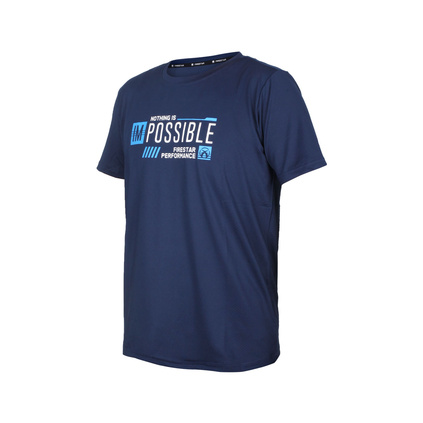 FIRESTAR 男款彈性印花圓領短袖T恤 D1730-93 - 丈青藍白